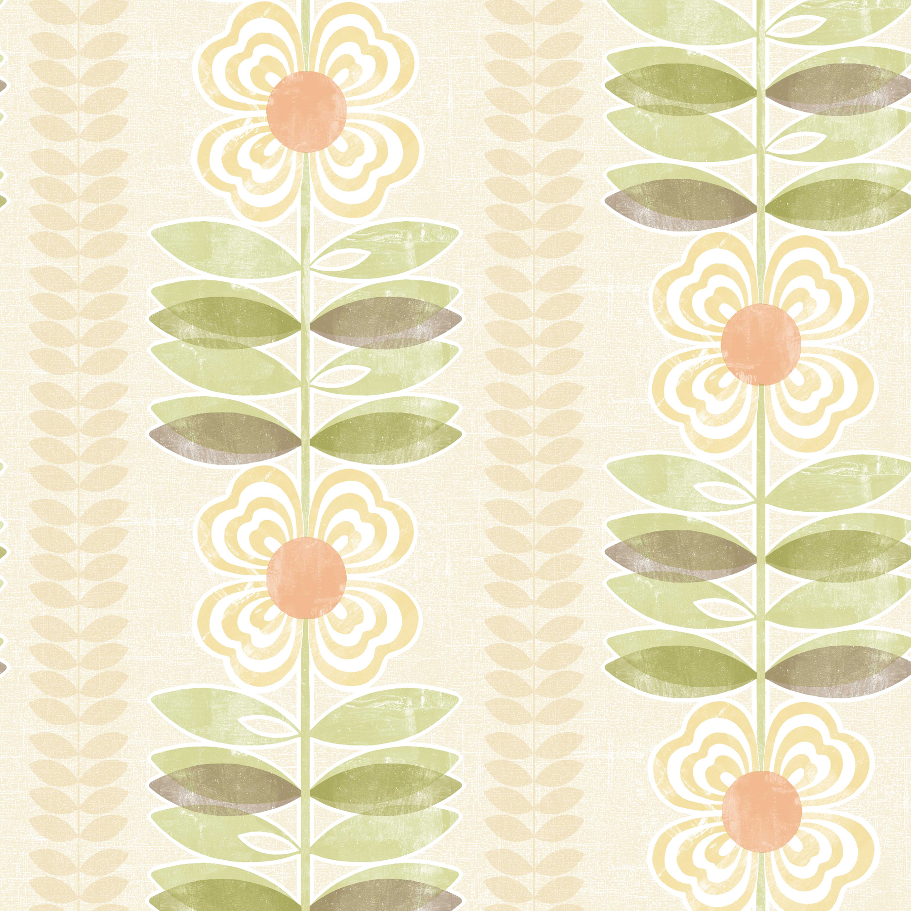 Picture of Avril Yellow Modern Floral Stripe Wallpaper