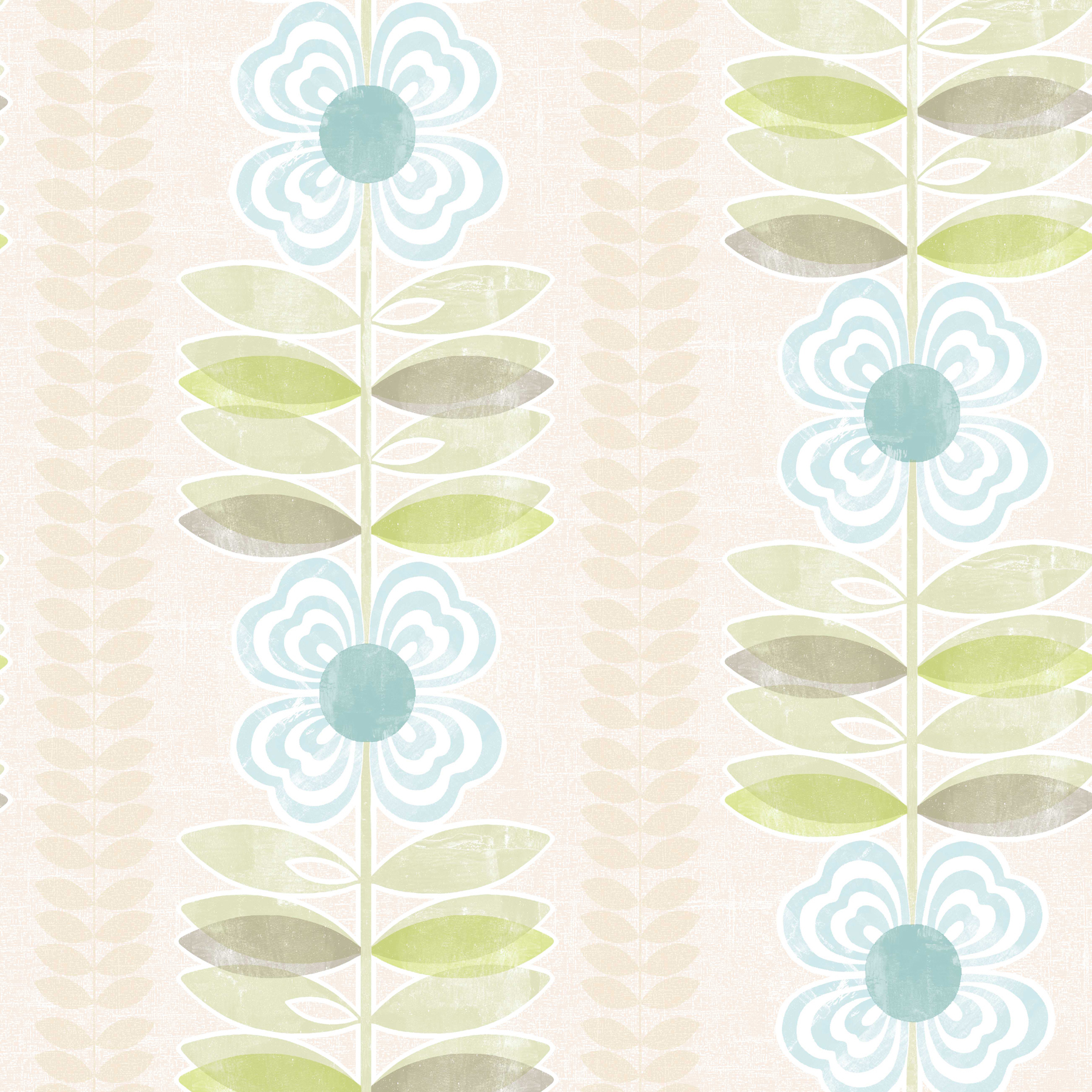 Picture of Avril Blue Modern Floral Stripe Wallpaper