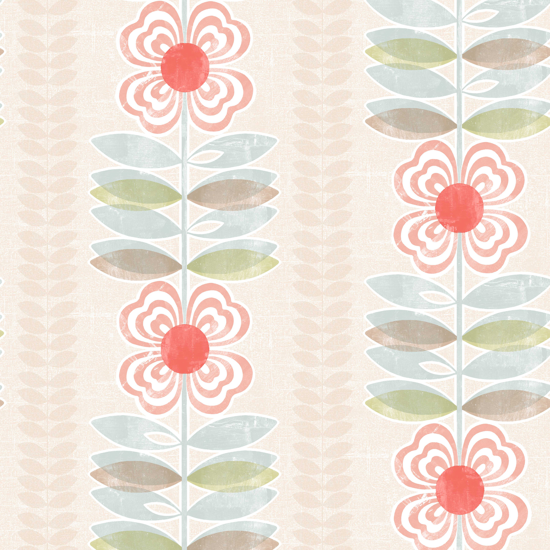 Picture of Avril Red Modern Floral Stripe Wallpaper