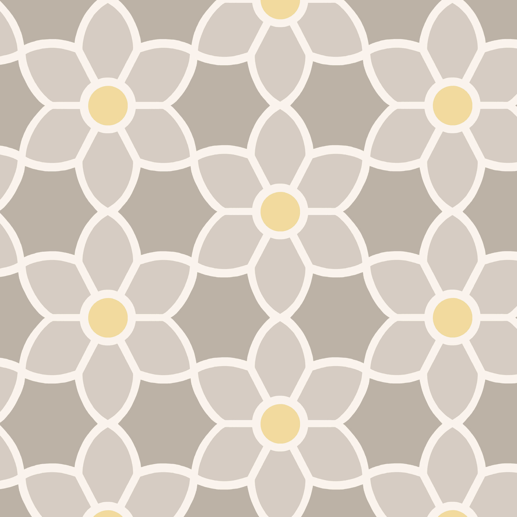 Picture of Blossom Grey Geometric Floral Wallpaper