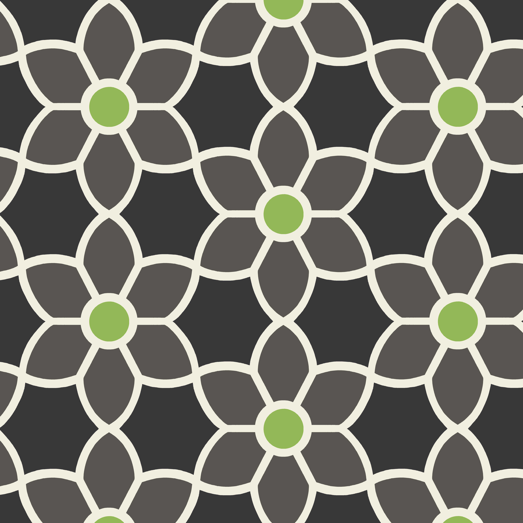 Picture of Blossom Black Geometric Floral Wallpaper