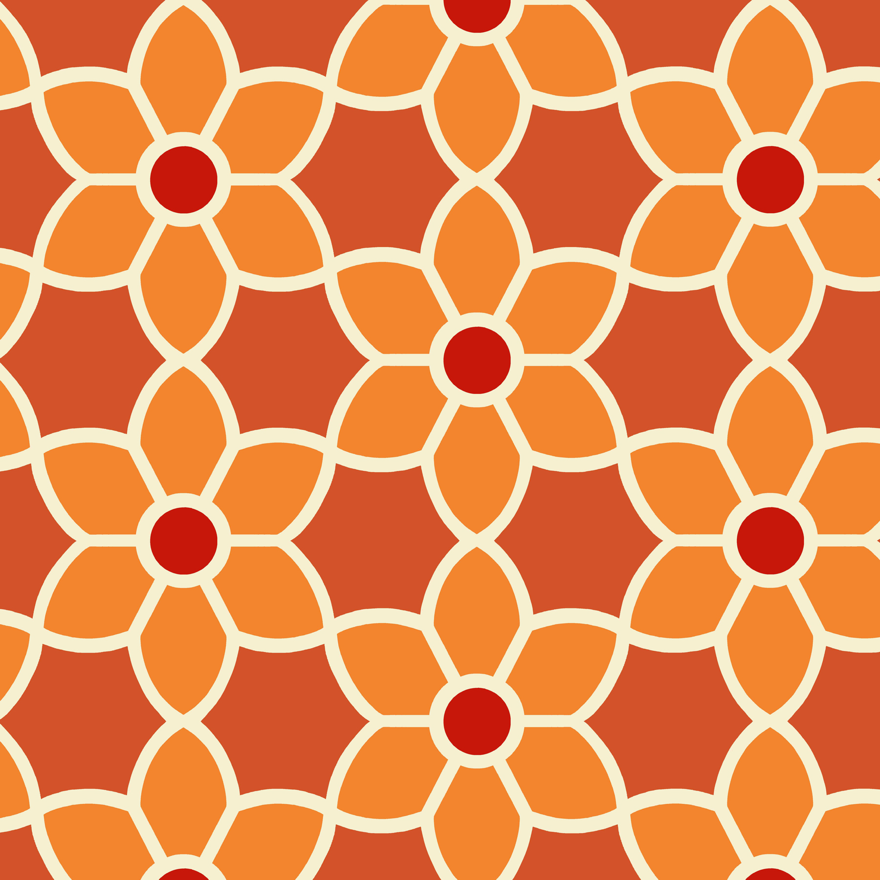 Picture of Blossom Red Geometric Floral Wallpaper