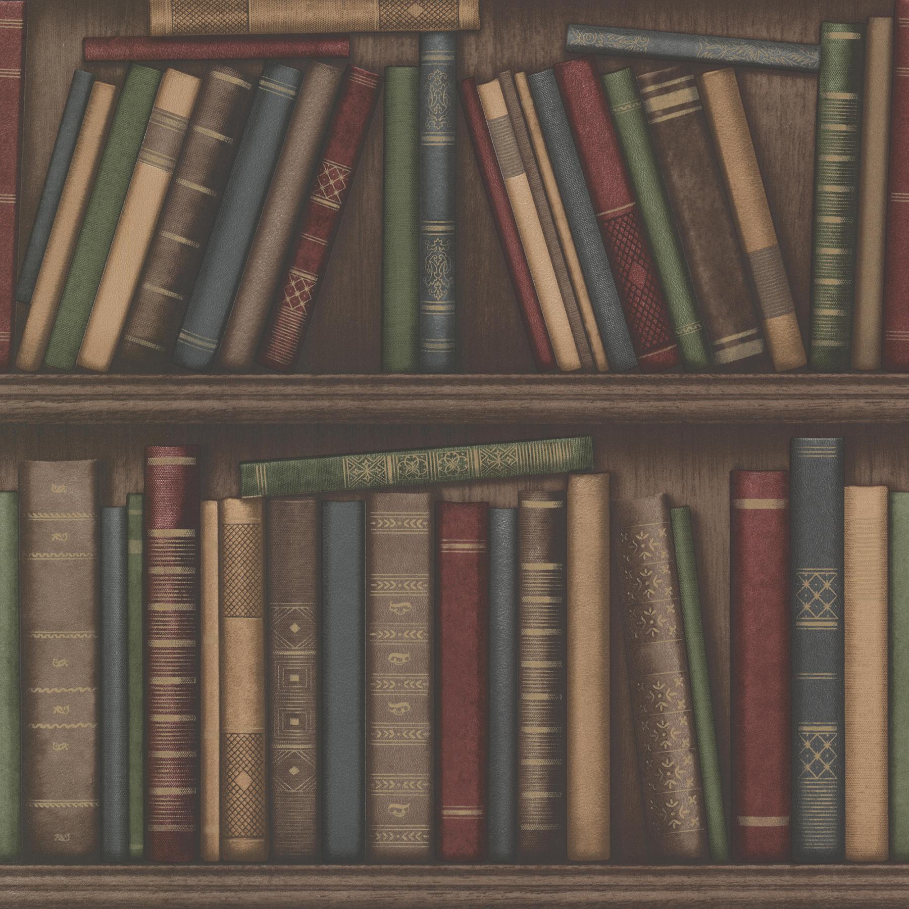 Picture of Atheneum Burgundy Antique Books Wallpaper