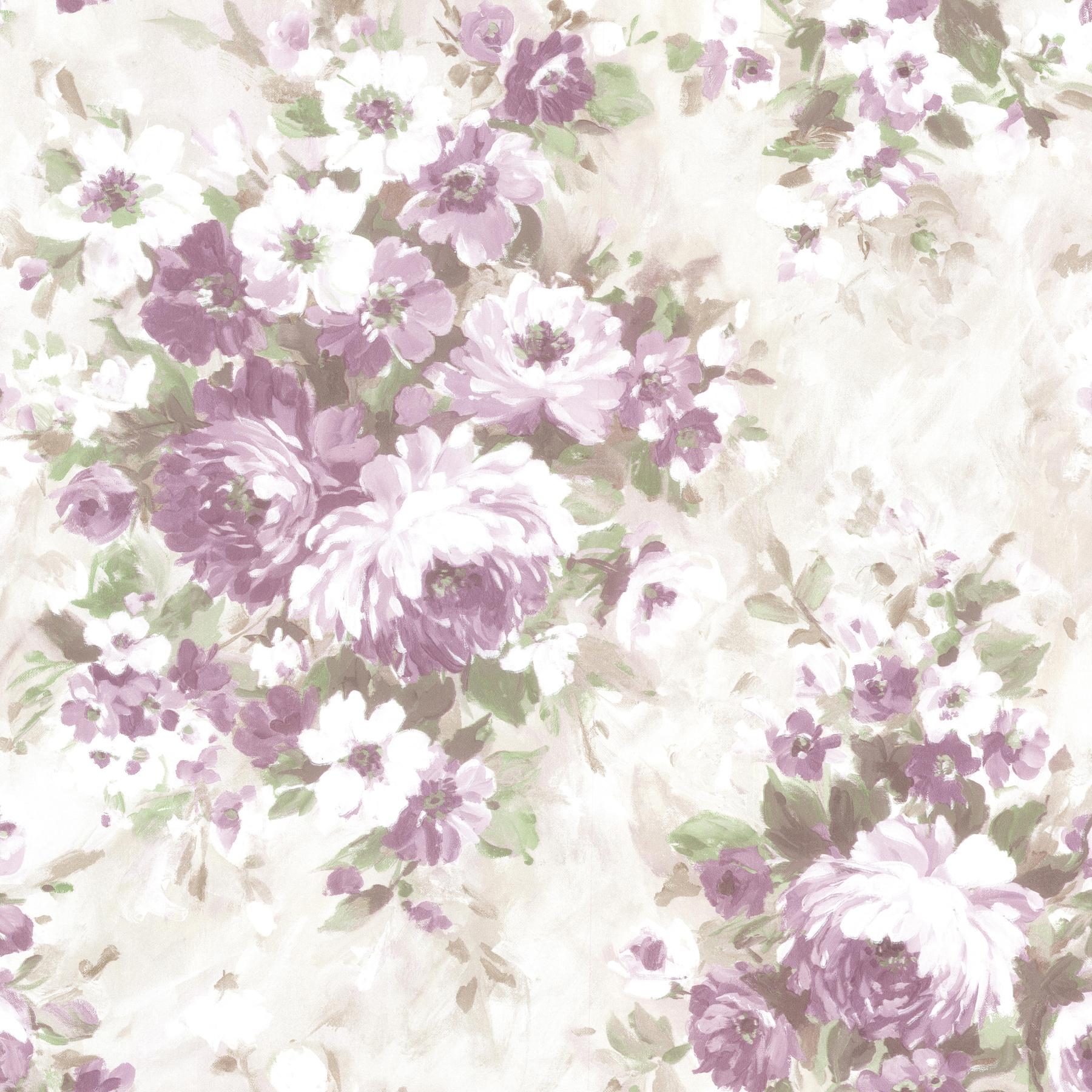 Picture of Belle Purple Floral Bouquet Wallpaper