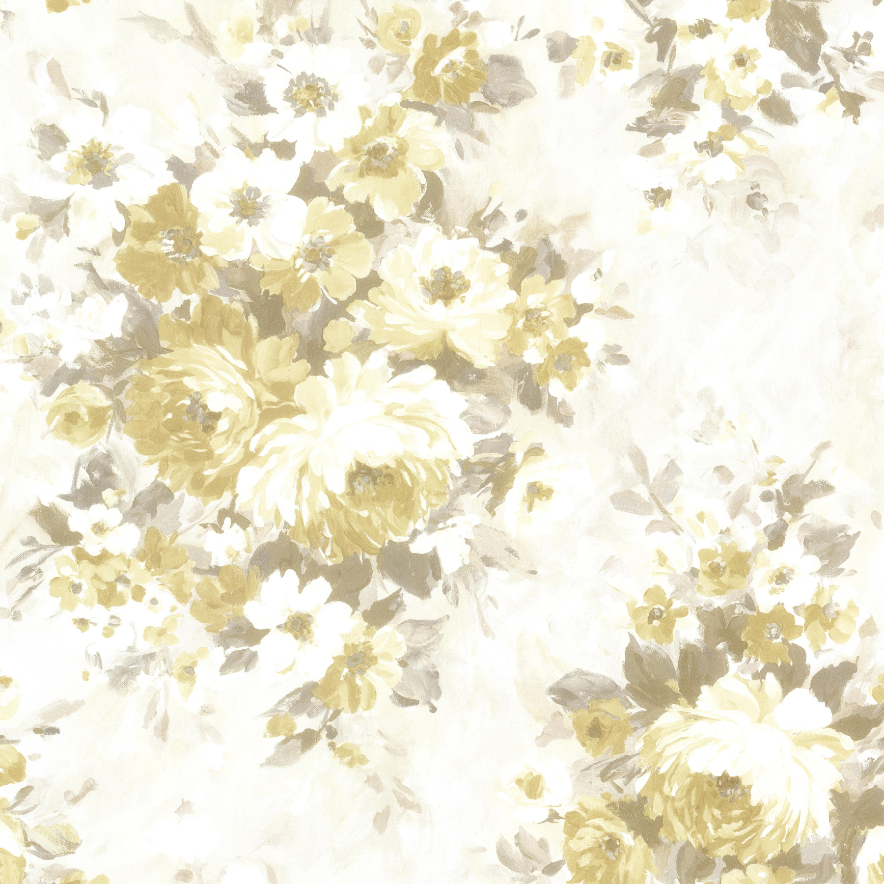 Picture of Belle Yellow Floral Bouquet Wallpaper
