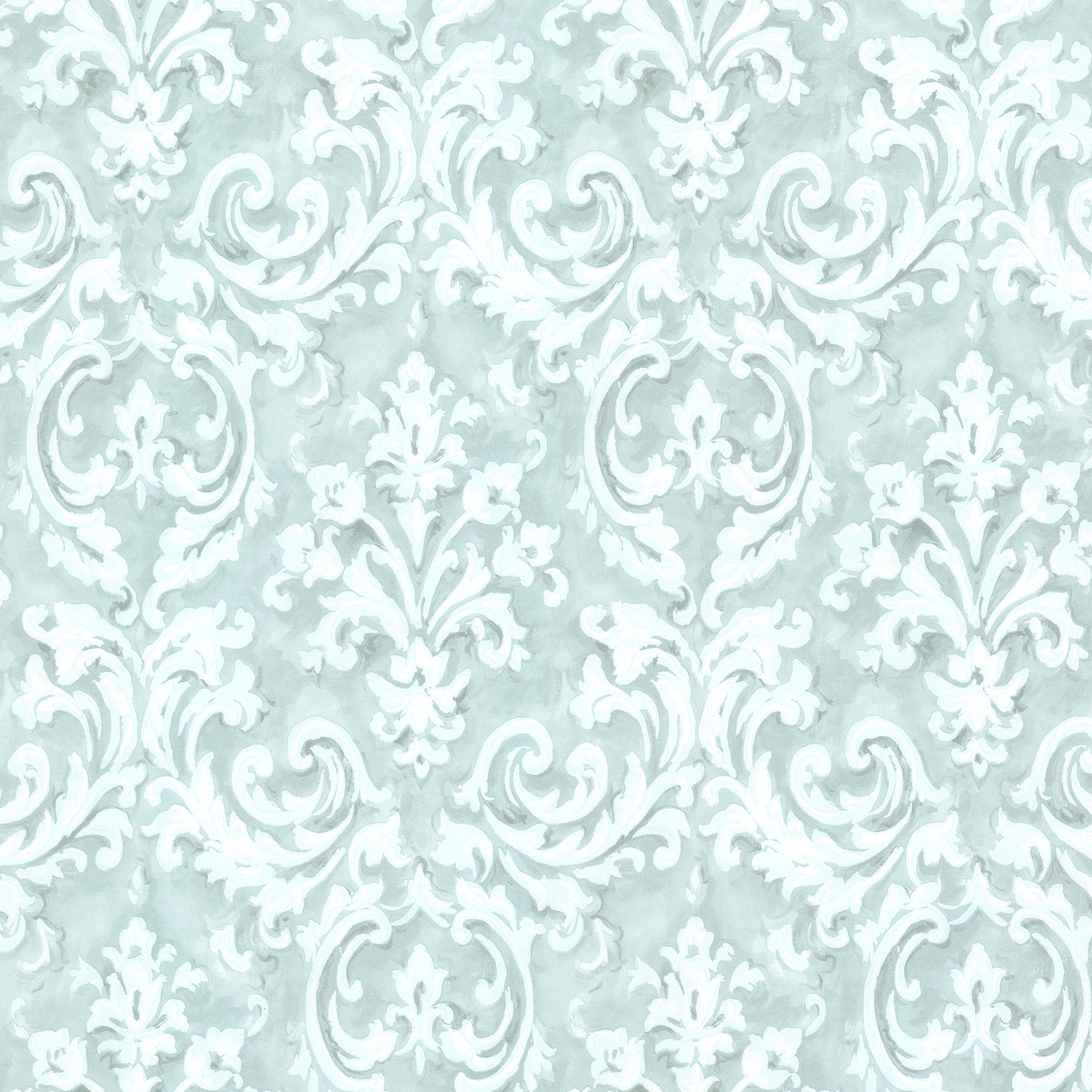 Picture of Aurora Blue Damask Wallpaper