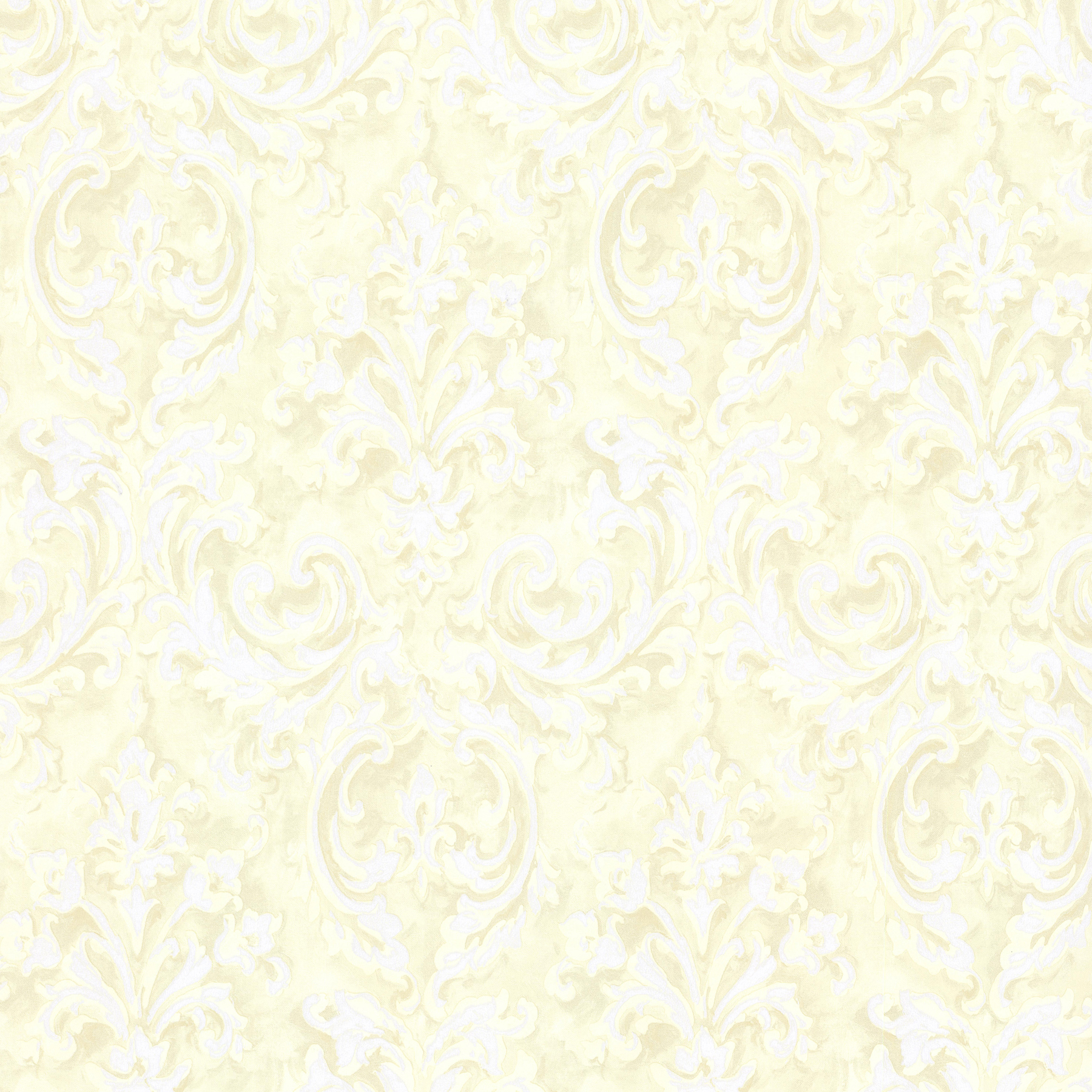 Picture of Aurora Yellow Damask Wallpaper