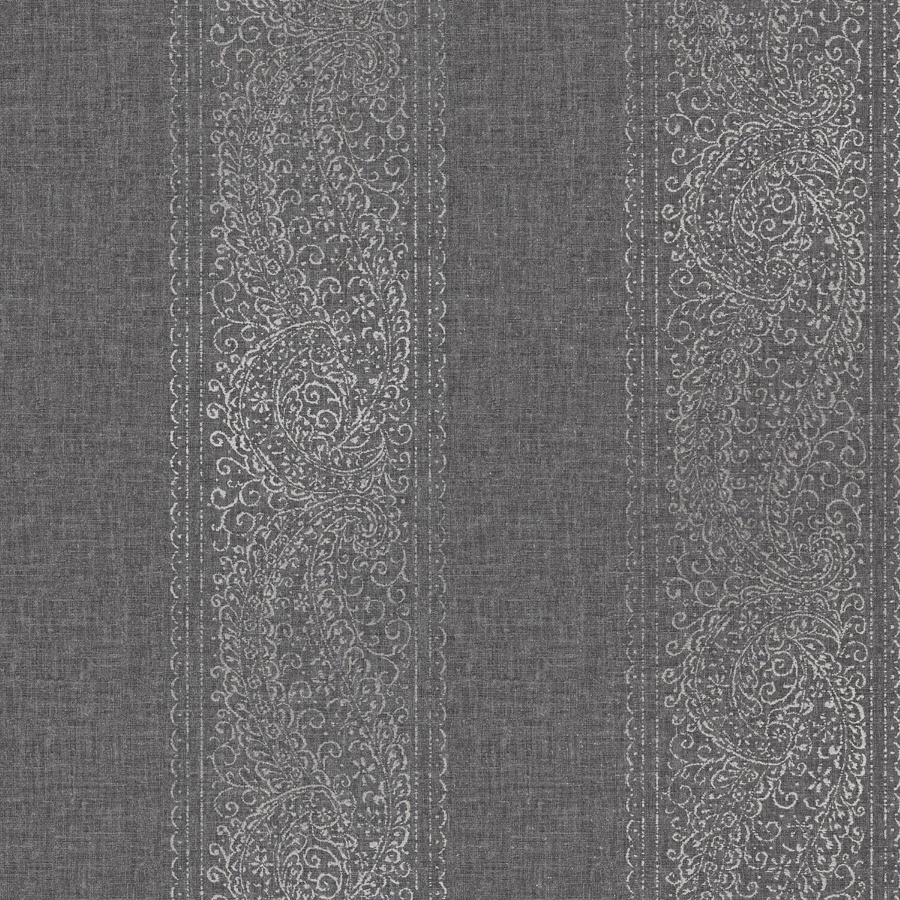 Picture of Arcades Black Paisley Stripe Wallpaper