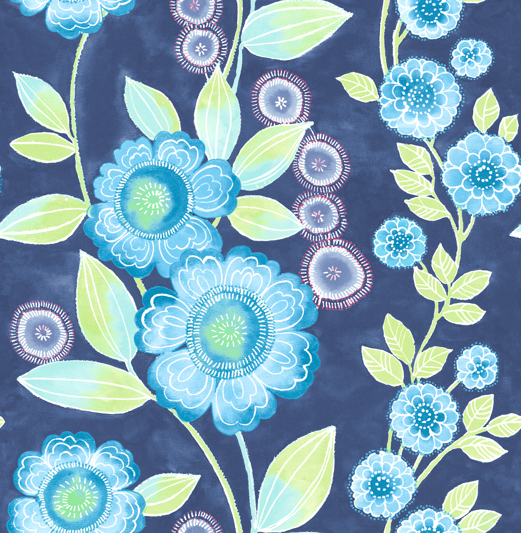 Picture of Bloom Blue Floral Wallpaper
