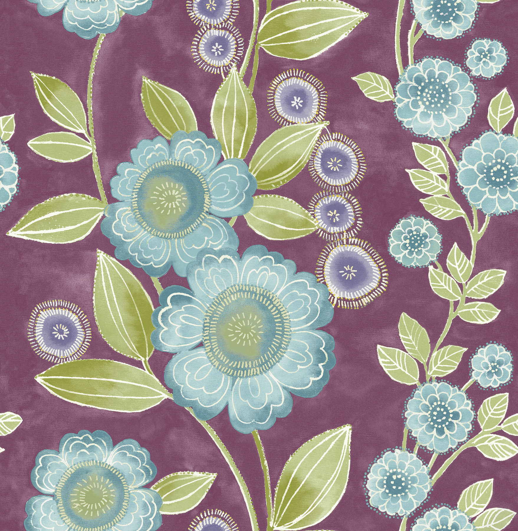 Picture of Bloom Plum Floral Wallpaper