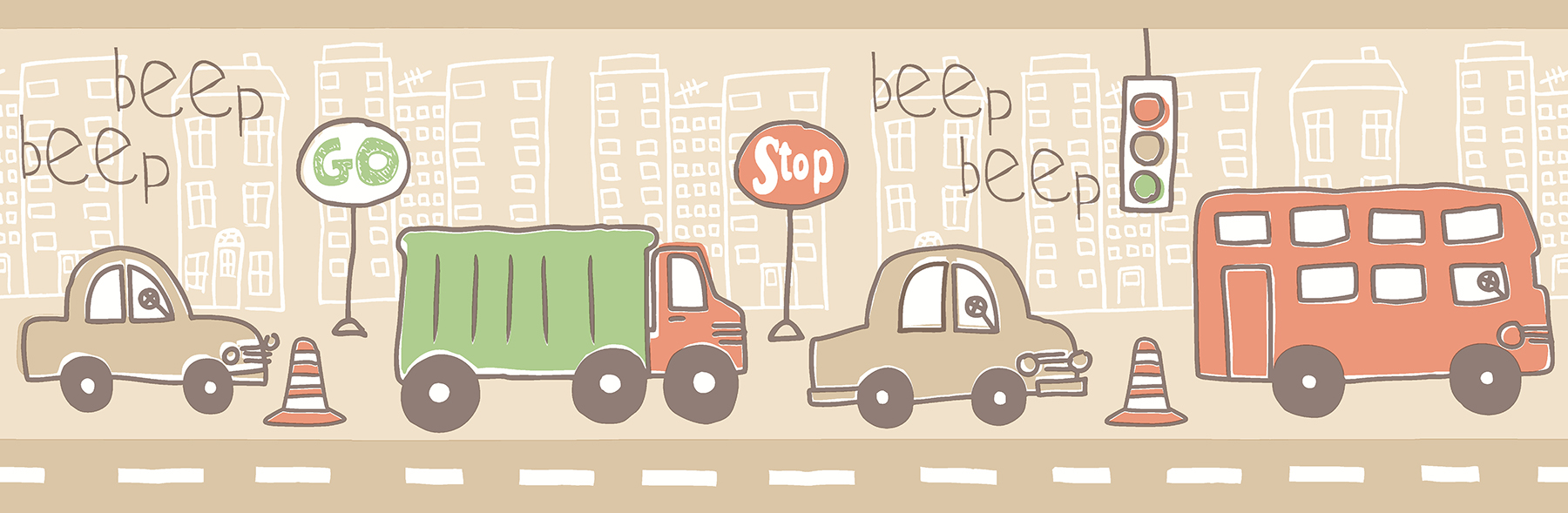 Picture of Beep Beep Zoom Taupe Border