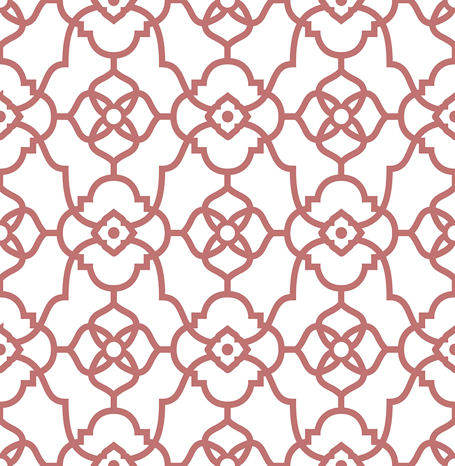 Picture of Atrium Coral Trellis Wallpaper
