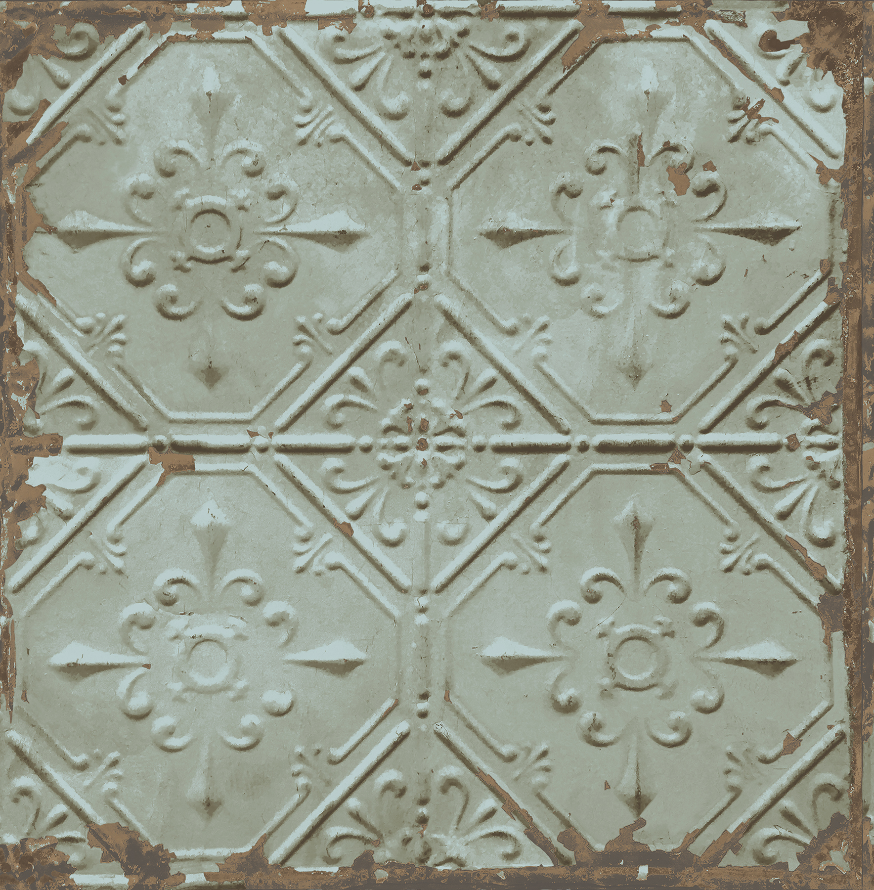 Picture of Artisan Turquoise Tin Ceiling Wallpaper