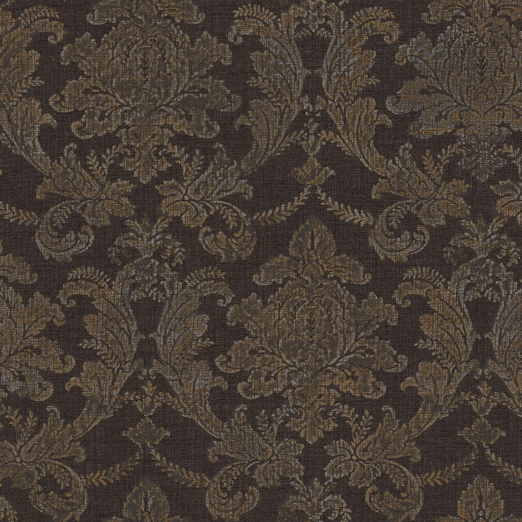 Picture of Brown Textured Damask Wallpaper