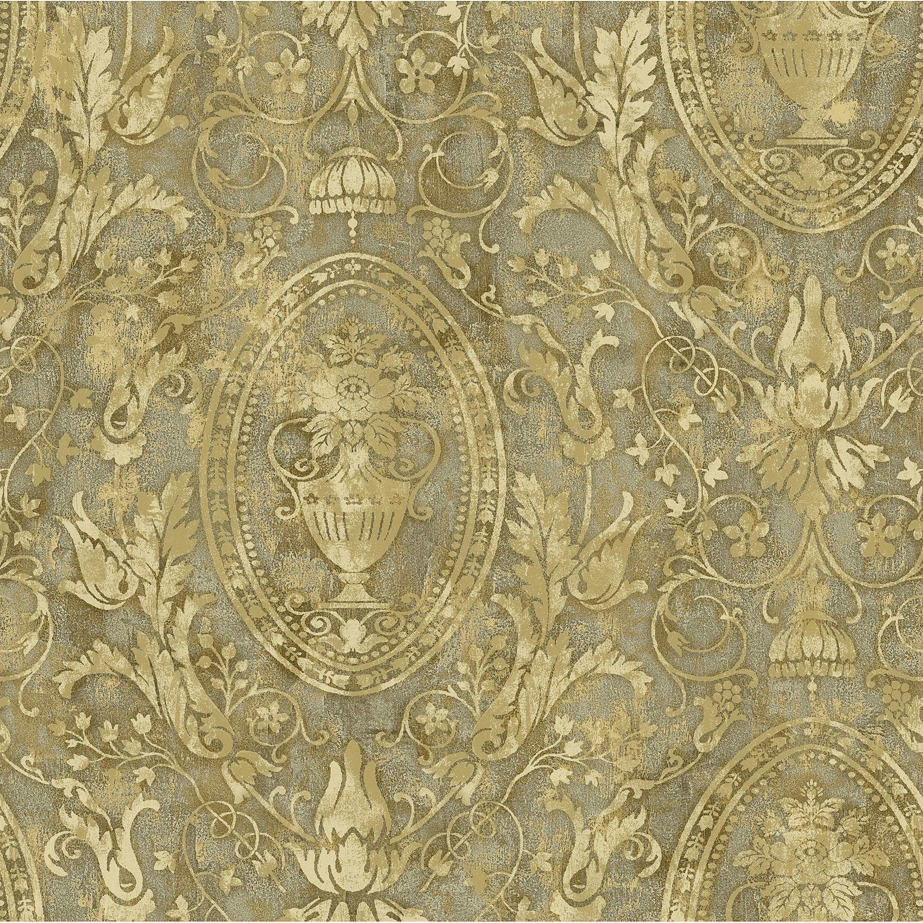 Picture of Brown Urn Acanthus Leaf Cameo Wallpaper