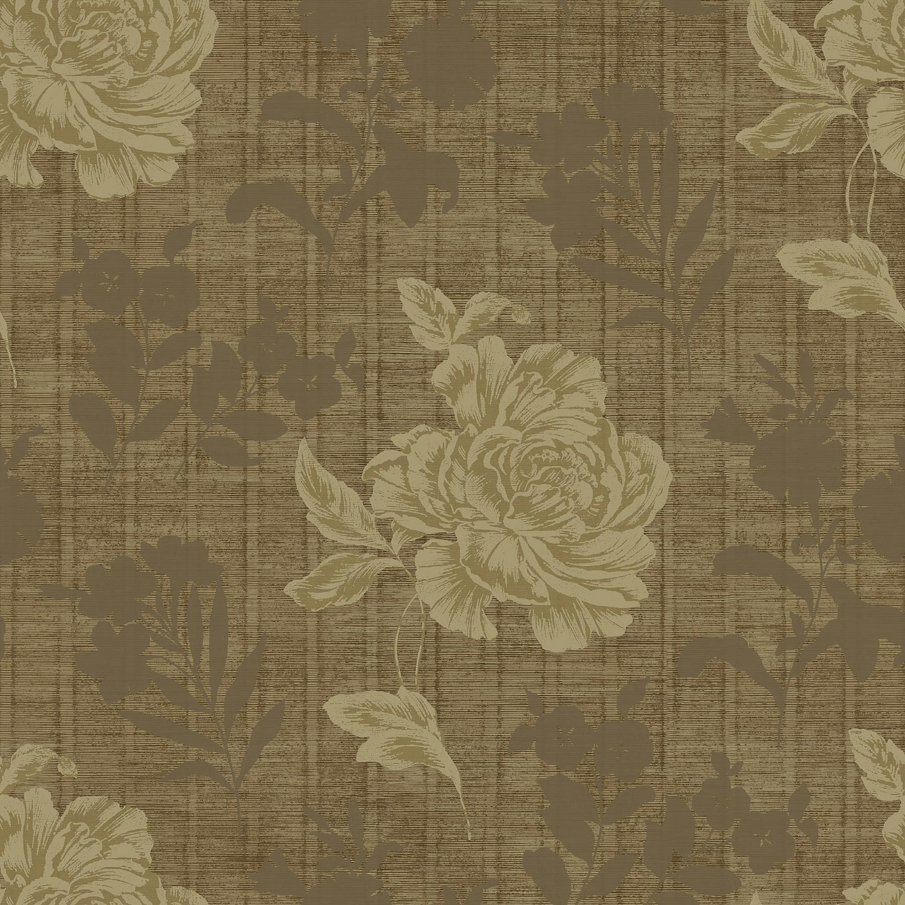 Picture of Brown Horizontal Slub Floral Wallpaper