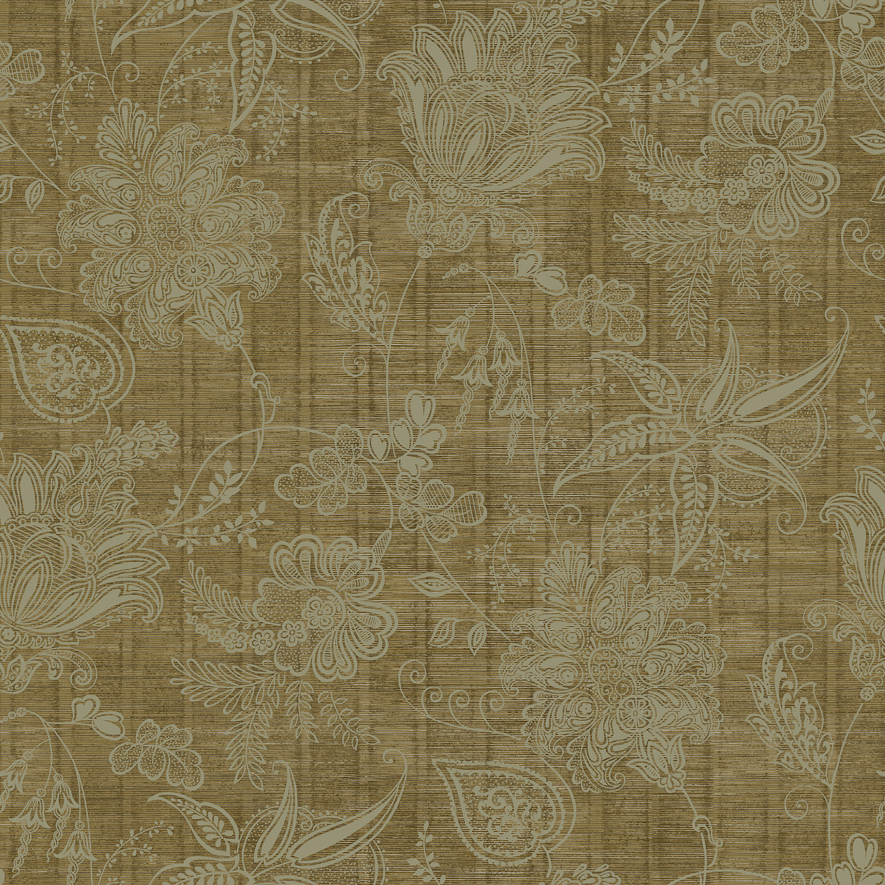 Picture of Brown Jacobean Trail Wallpaper