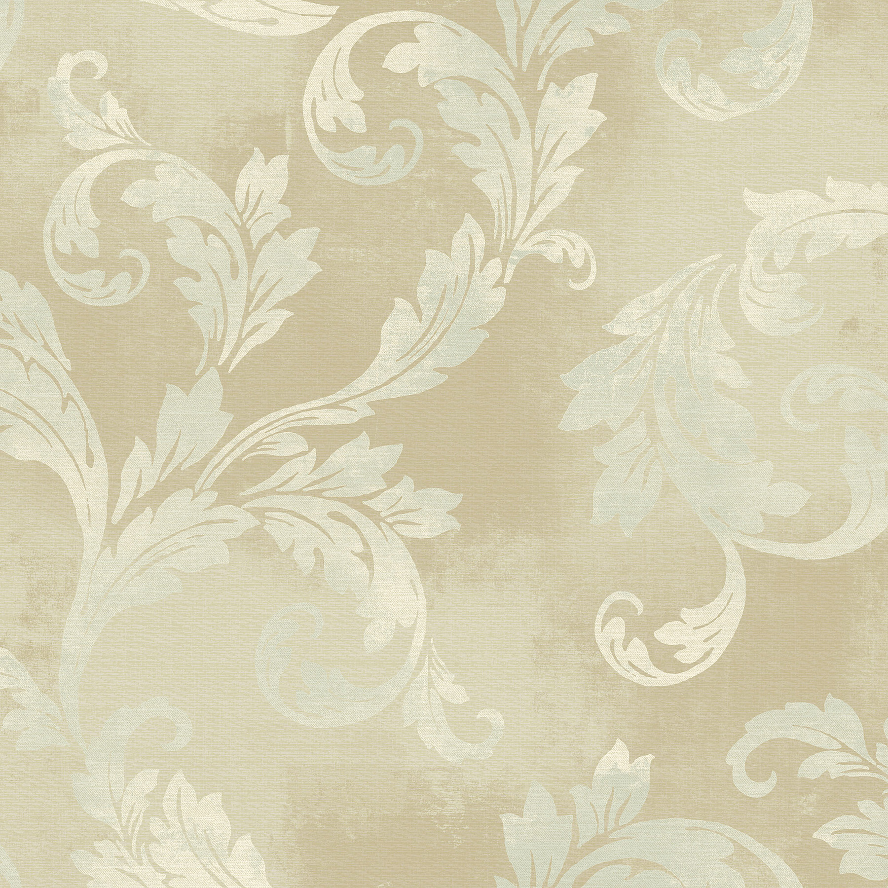 Picture of Brown Clean Acanthus Leaf Scroll Wallpaper