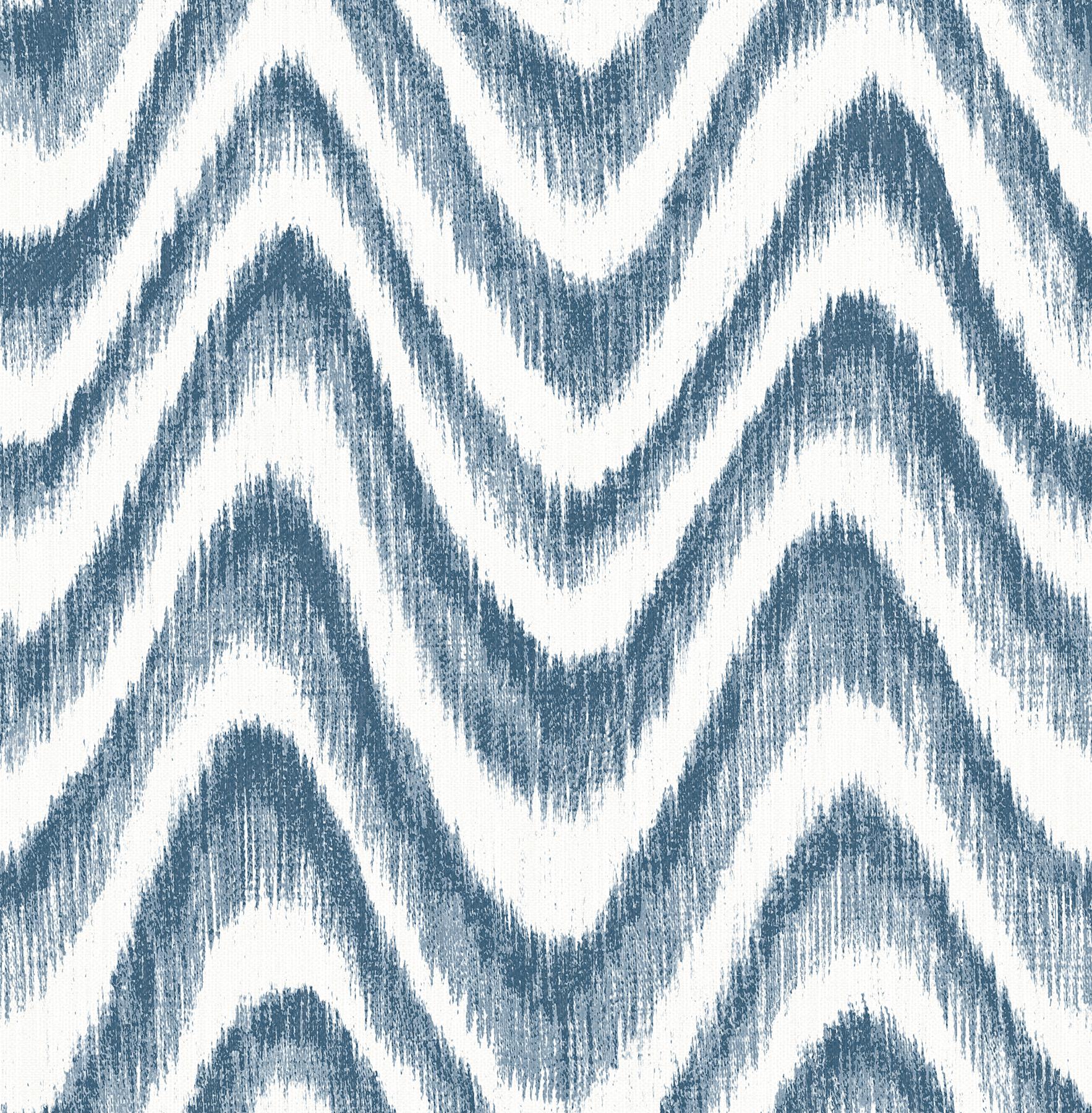 Picture of Bargello Blue Faux Grasscloth Wave Wallpaper