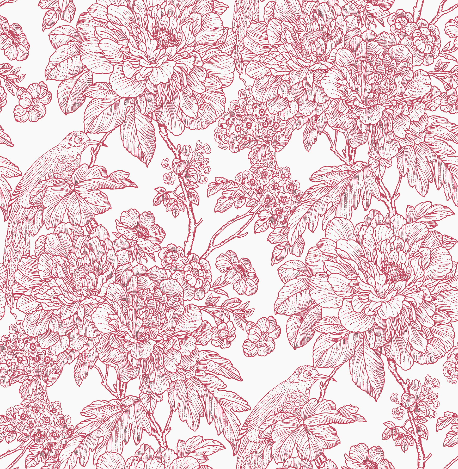 Picture of Birds of Paraside Breeze Red Floral Wallpaper
