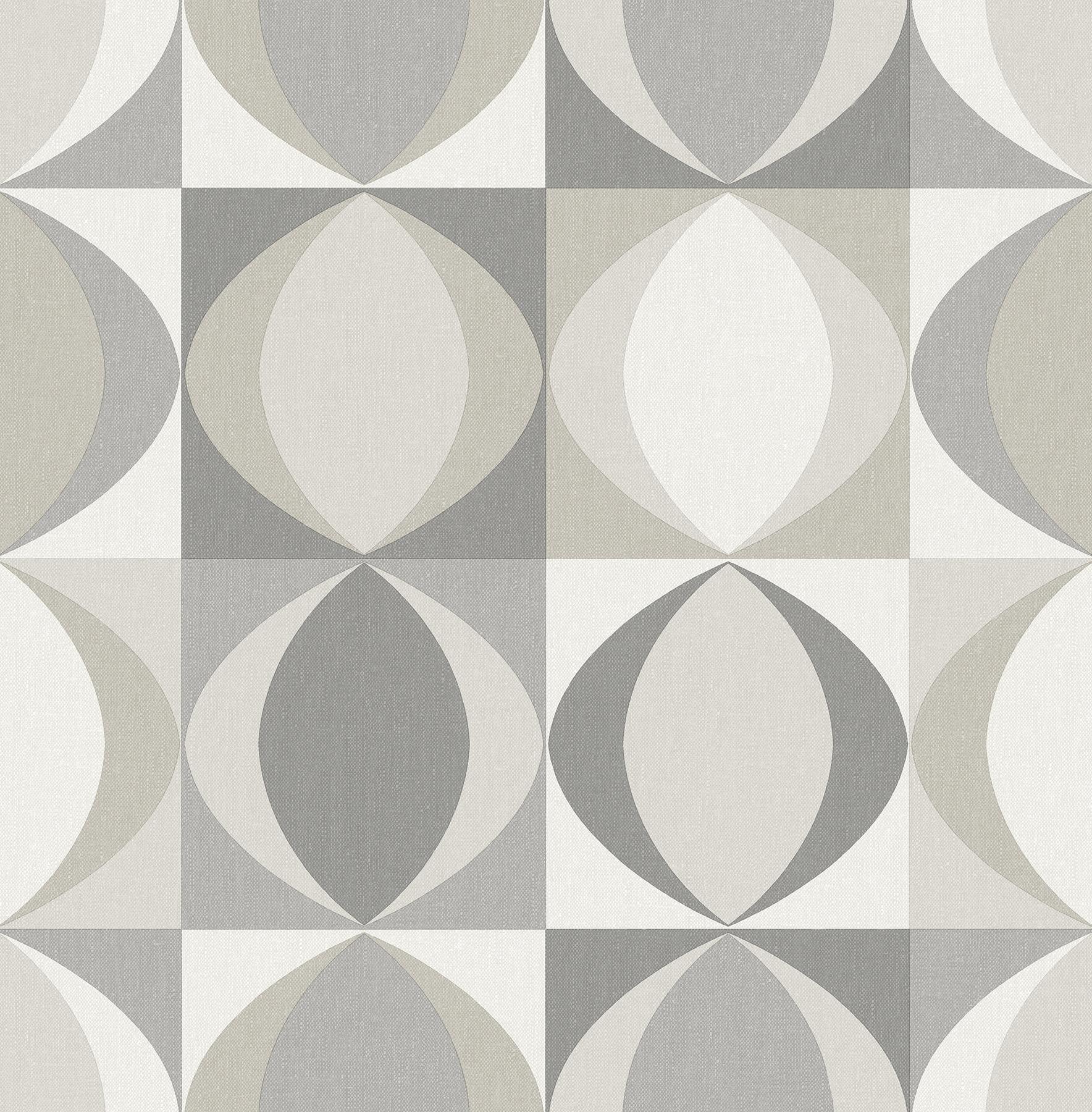 Picture of Archer Grey Linen Geometric Wallpaper