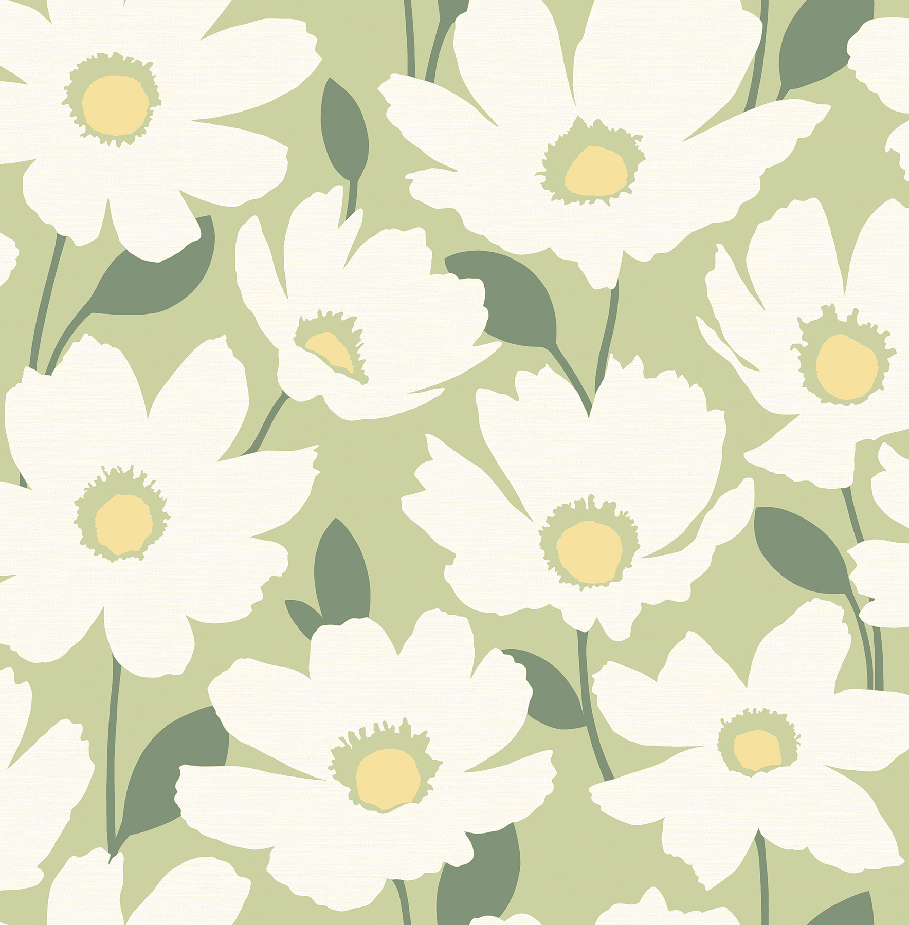 Picture of Astera Green Floral Wallpaper