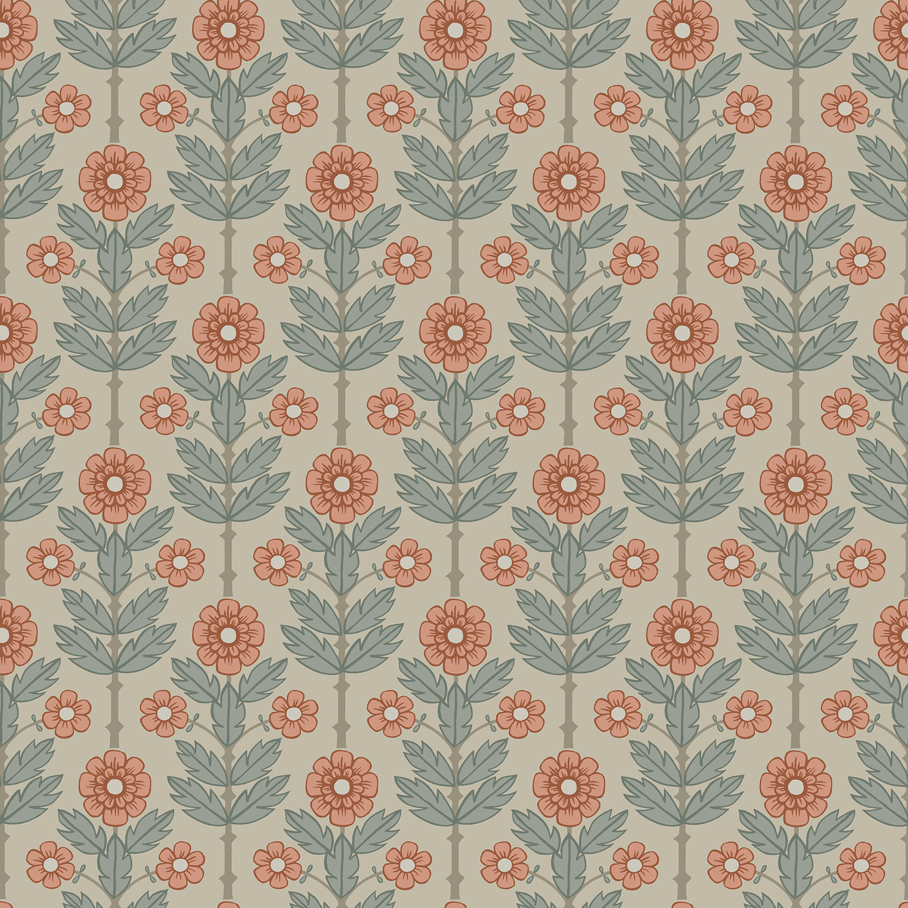 Picture of Aya Beige Floral Wallpaper