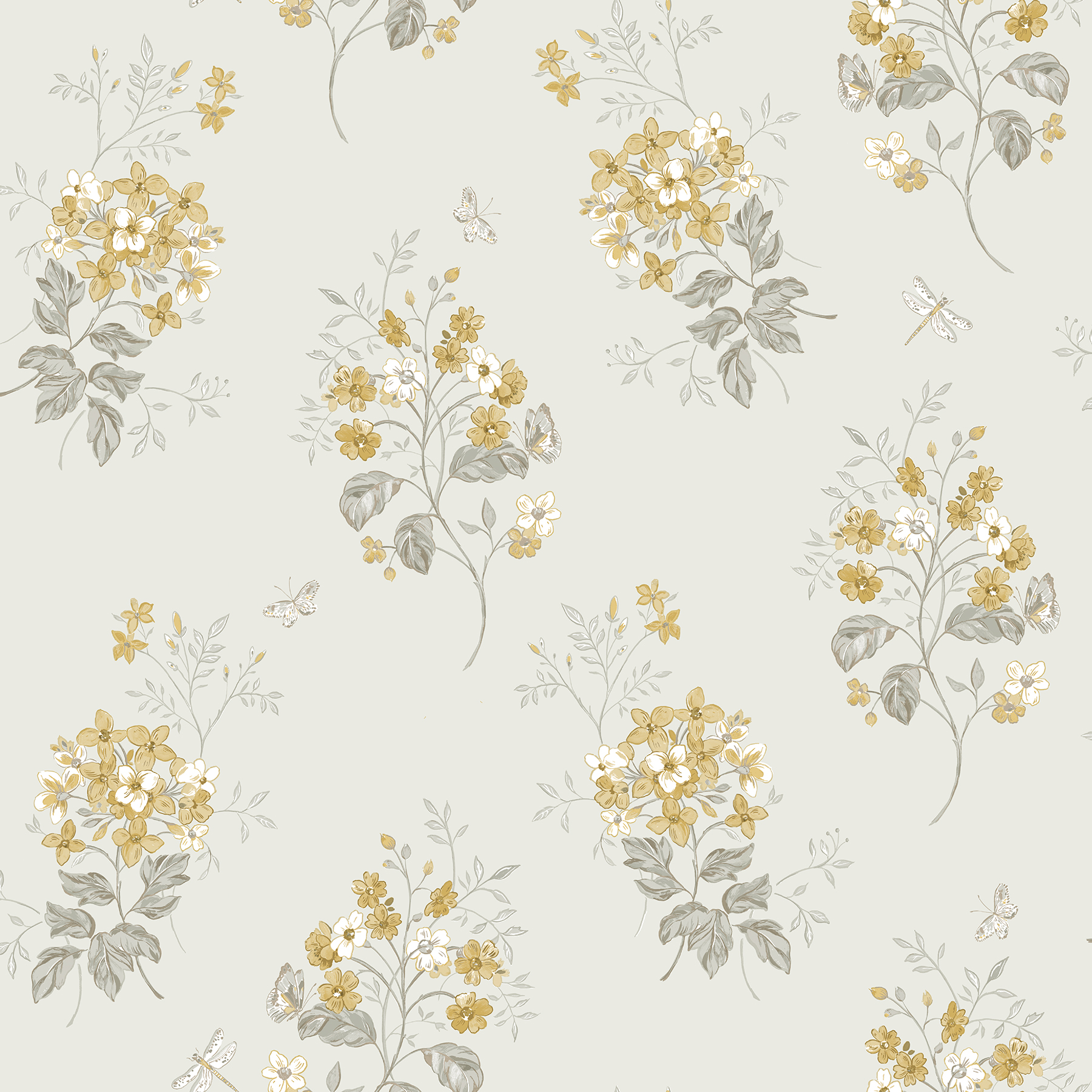Picture of Beverly Yellow Floral Wallpaper