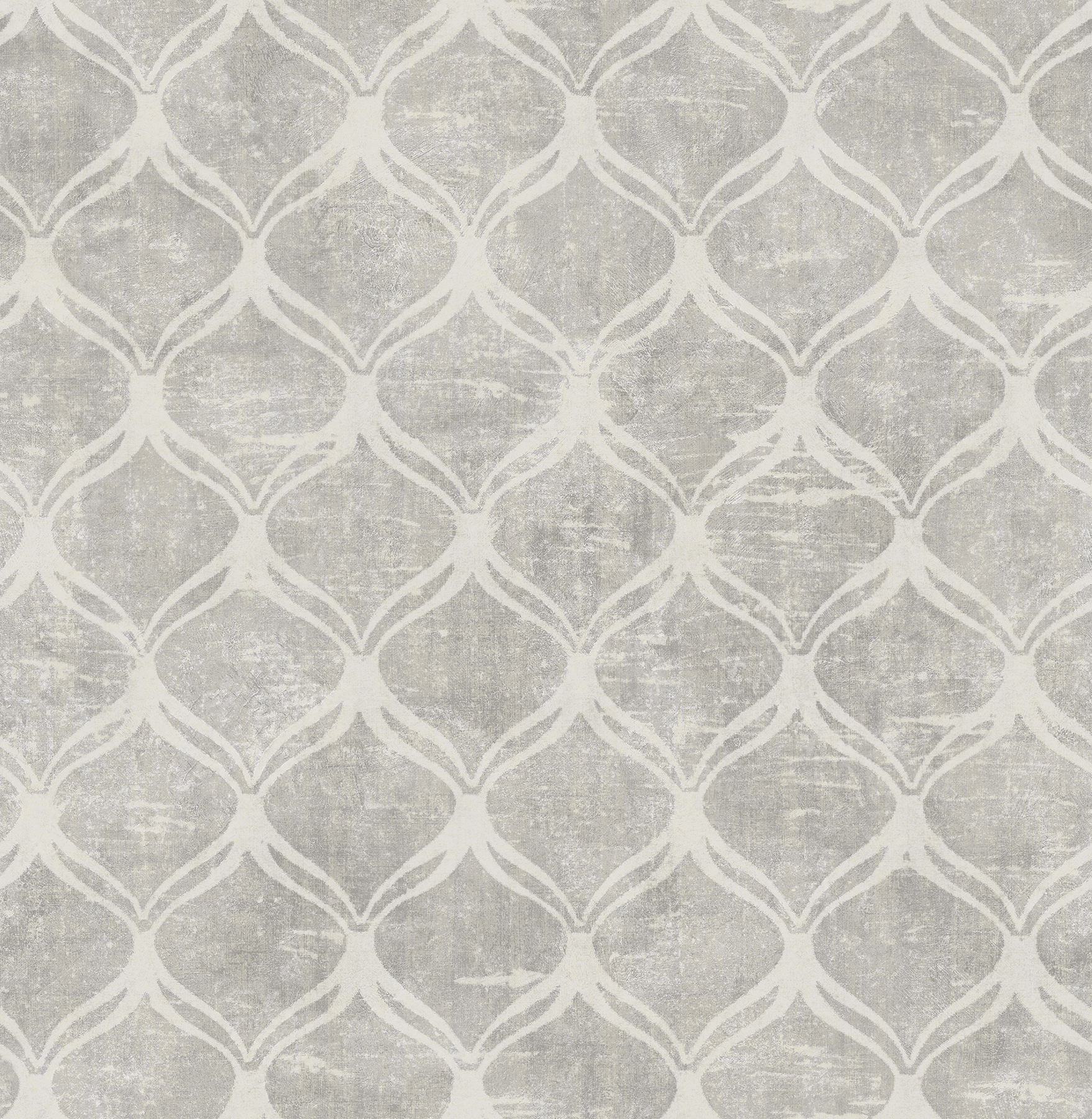 Picture of Bowery Silver Ogee Wallpaper