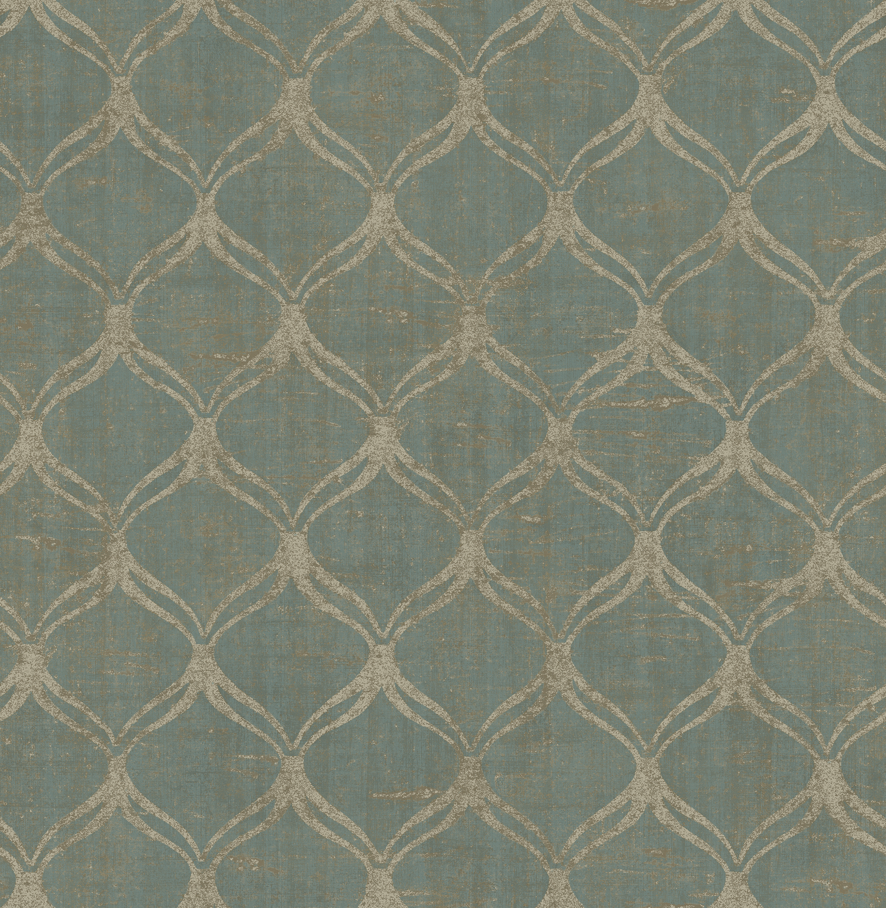 Picture of Bowery Teal Ogee Wallpaper
