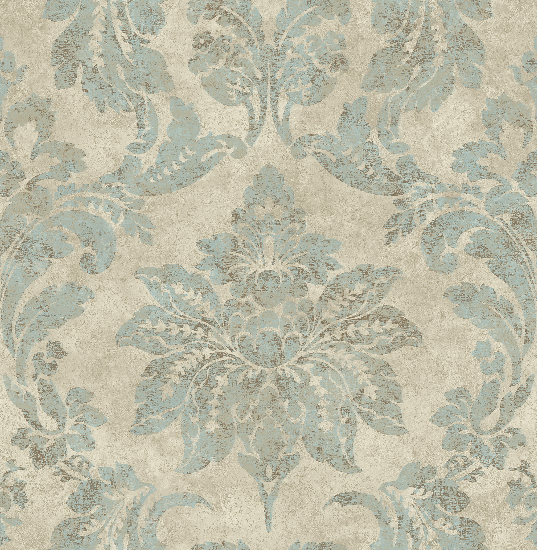 Picture of Astor Turquoise Damask Wallpaper
