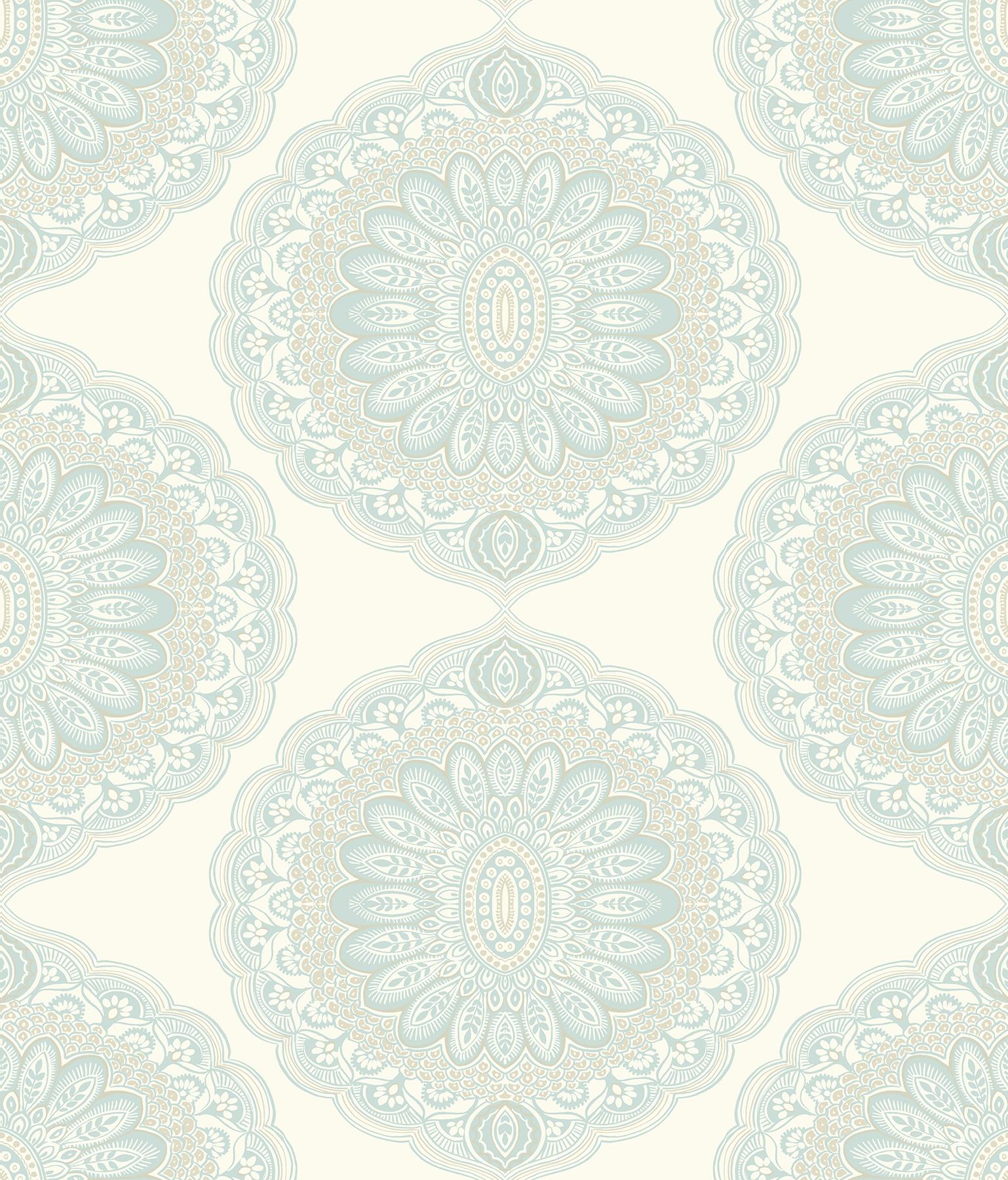 Picture of Bolinas Aquamarine Medallion Wallpaper