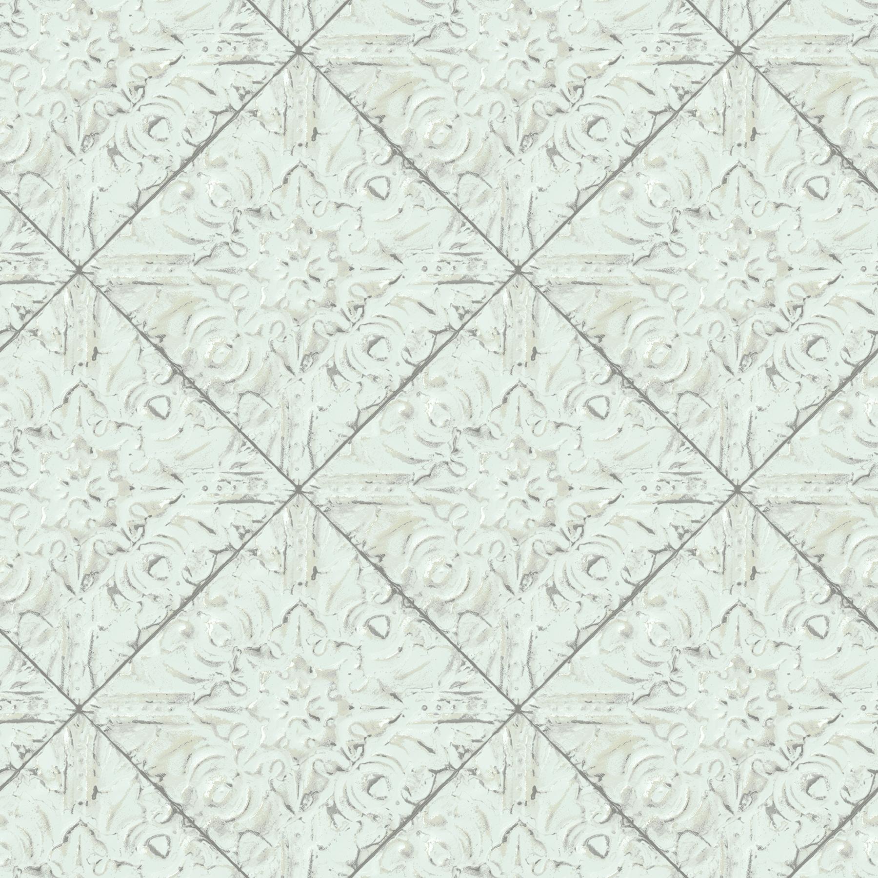 Picture of Brandi Teal Metallic Faux Tile Wallpaper