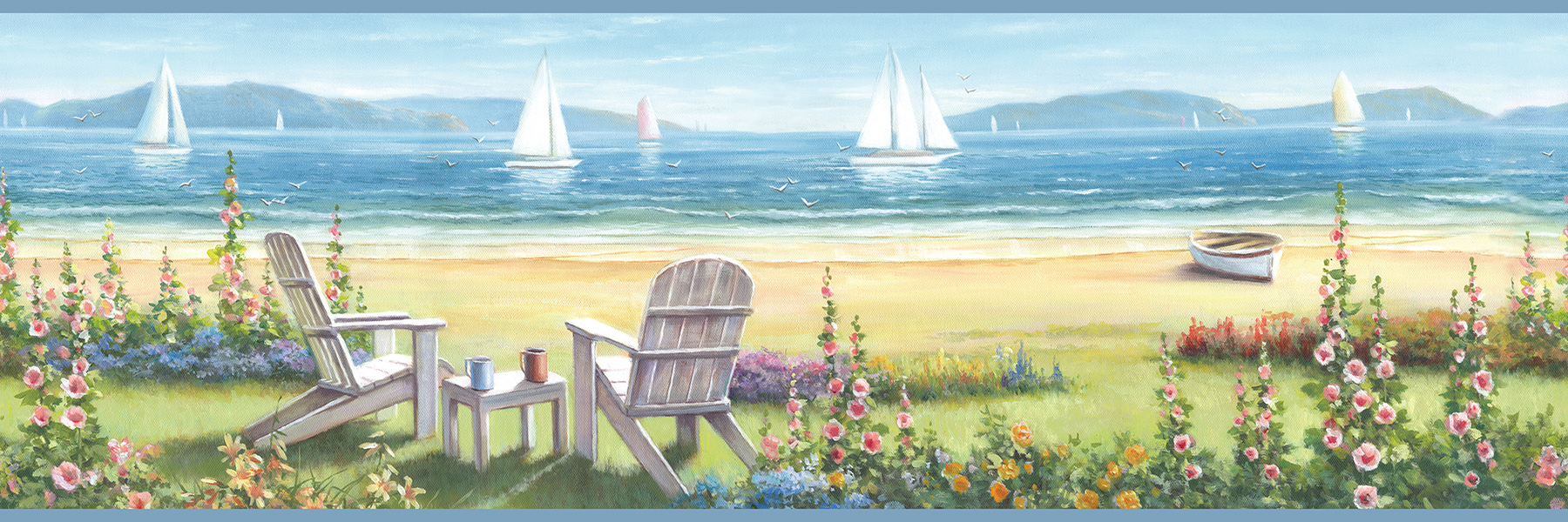 Picture of Barnstable Blue Seaside Portrait Border