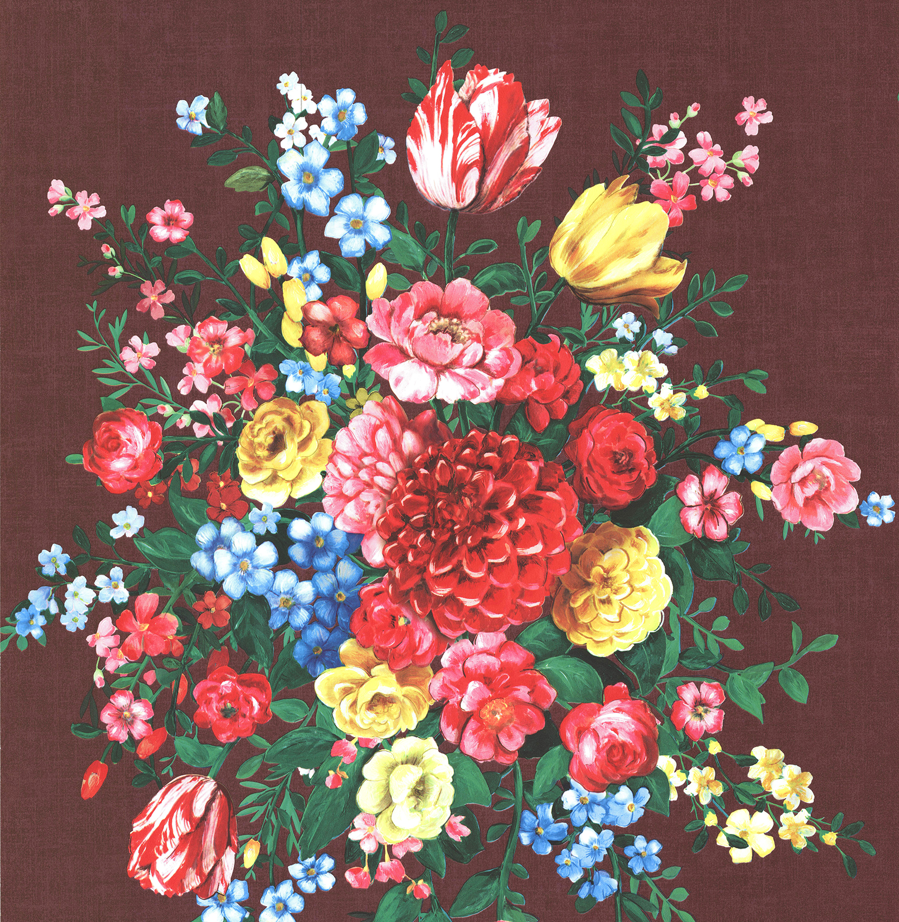 Picture of Ayaanle Burgundy Dutch Painters Floral Wallpaper