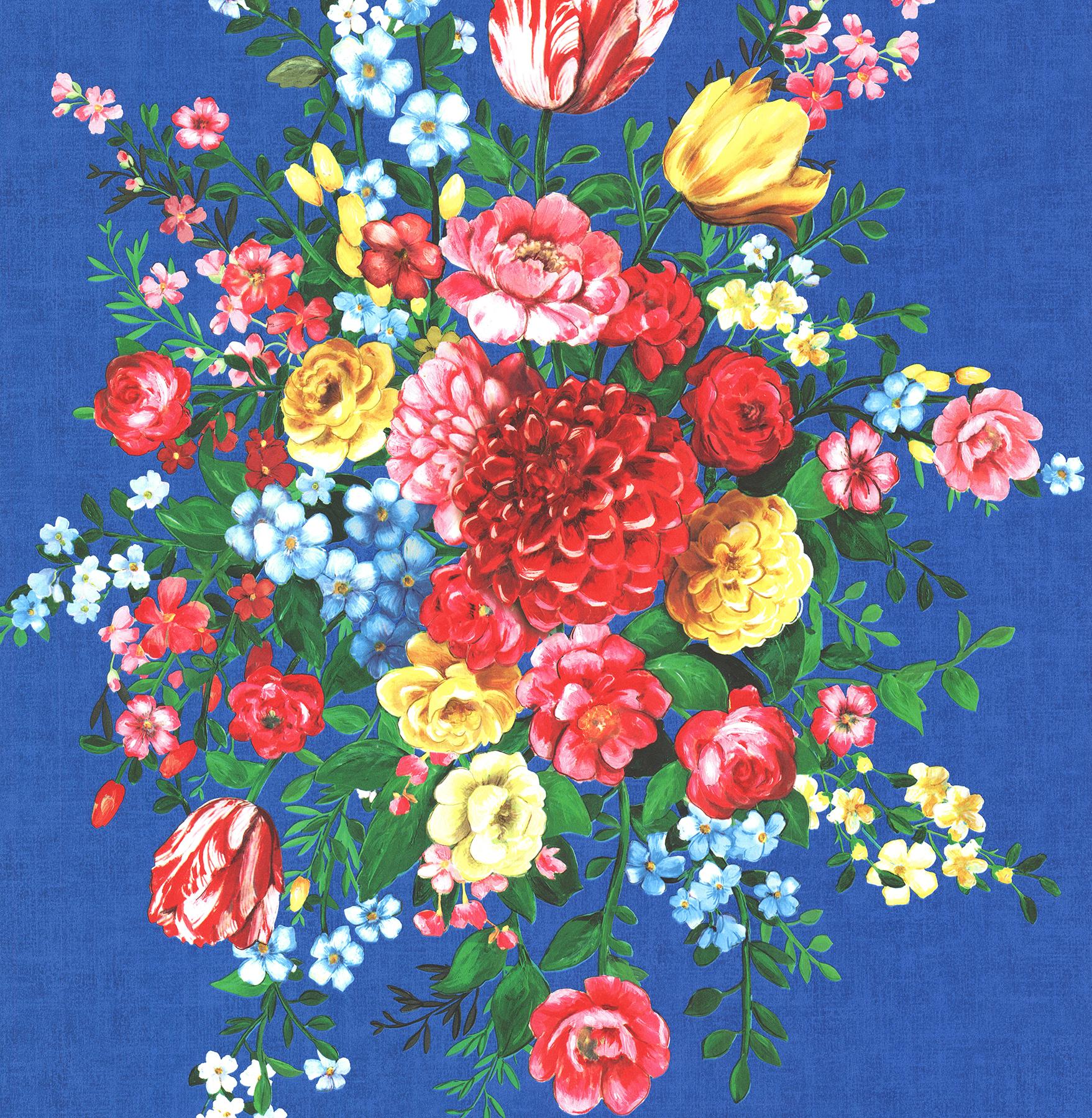 Picture of Ayaanle Dark Blue Dutch Painters Floral Wallpaper