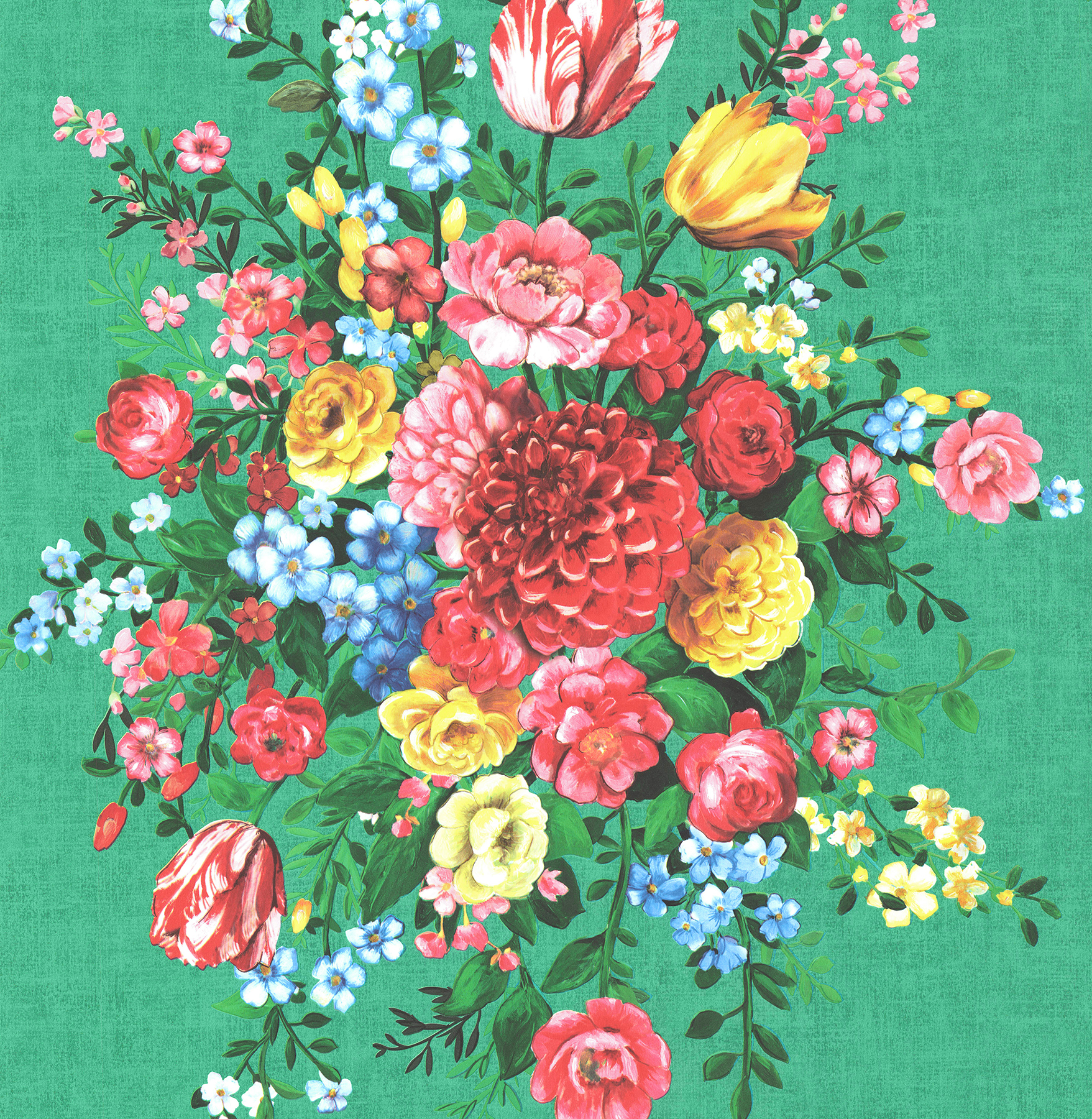 Picture of Ayaanle Green Dutch Painters Floral Wallpaper