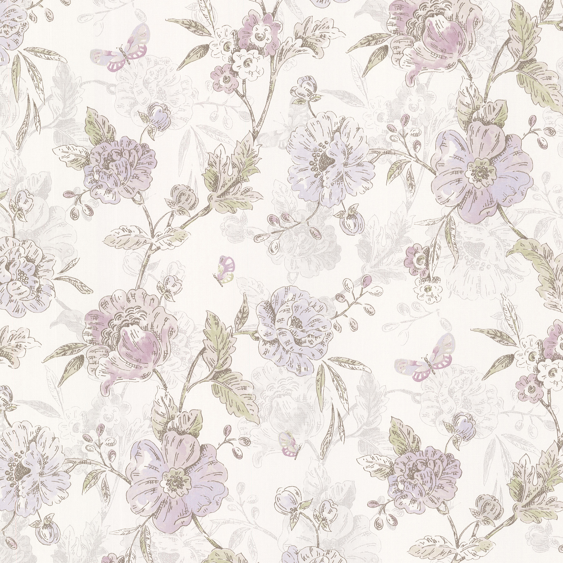 Picture of Beecroft Purple Butterfly Peony Trail Wallpaper