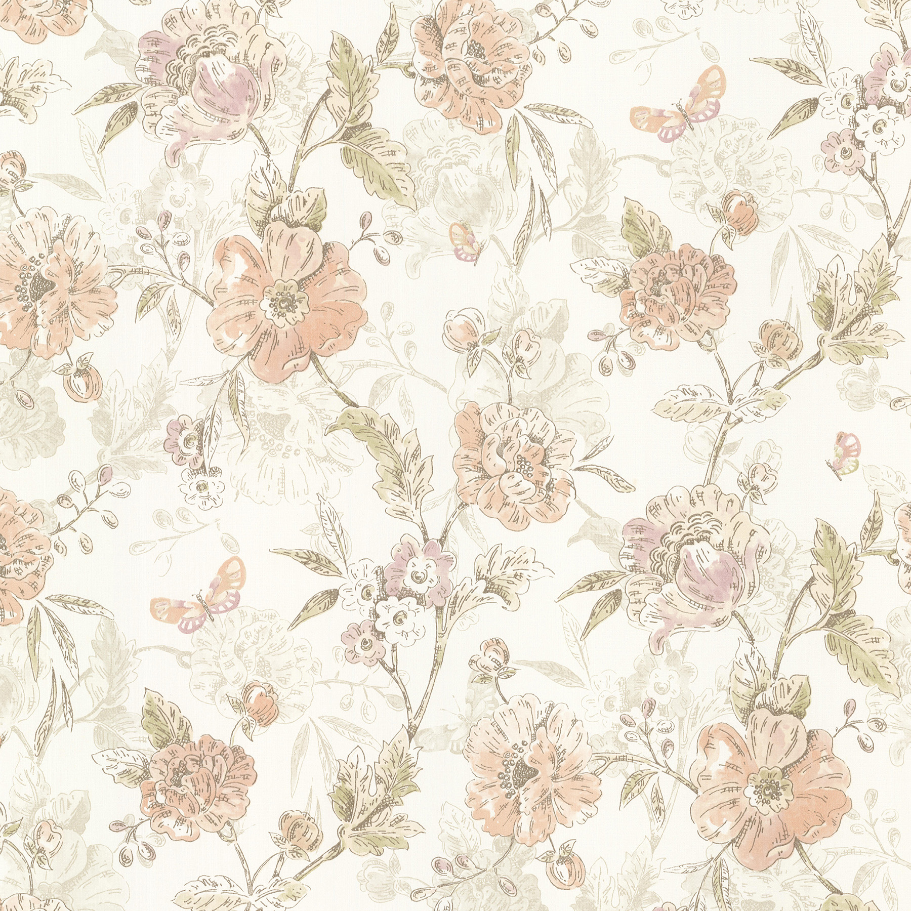 Picture of Beecroft Peach Butterfly Peony Trail Wallpaper