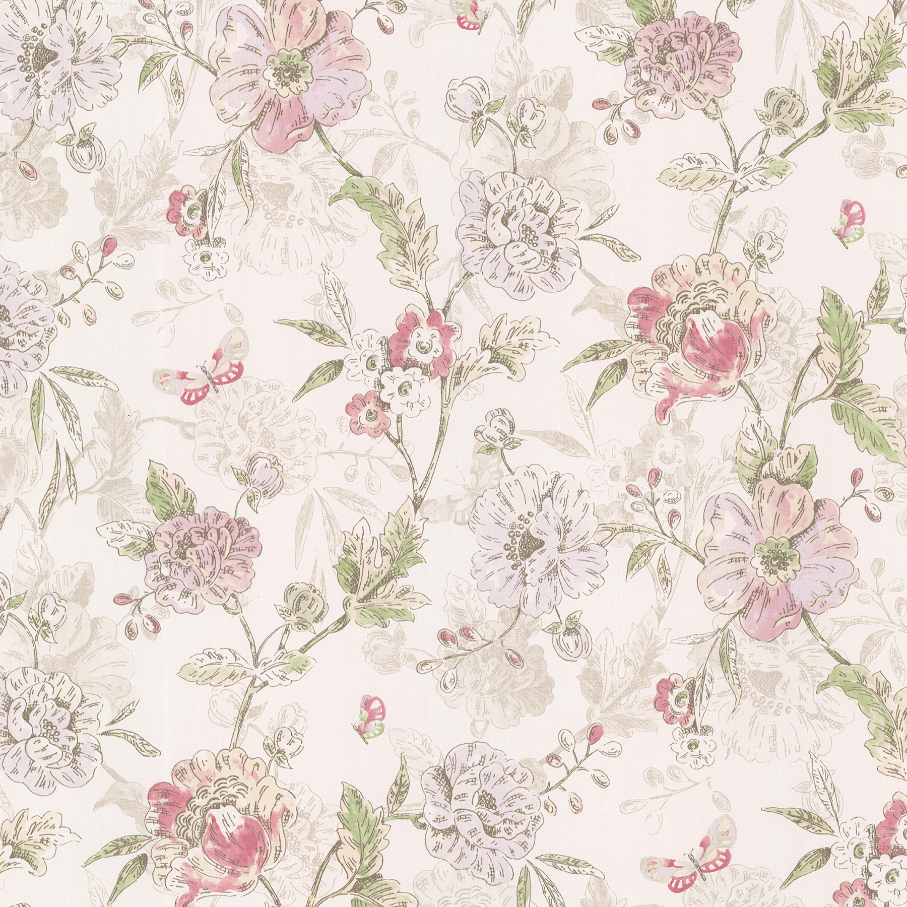 Picture of Beecroft Pink Butterfly Peony Trail Wallpaper