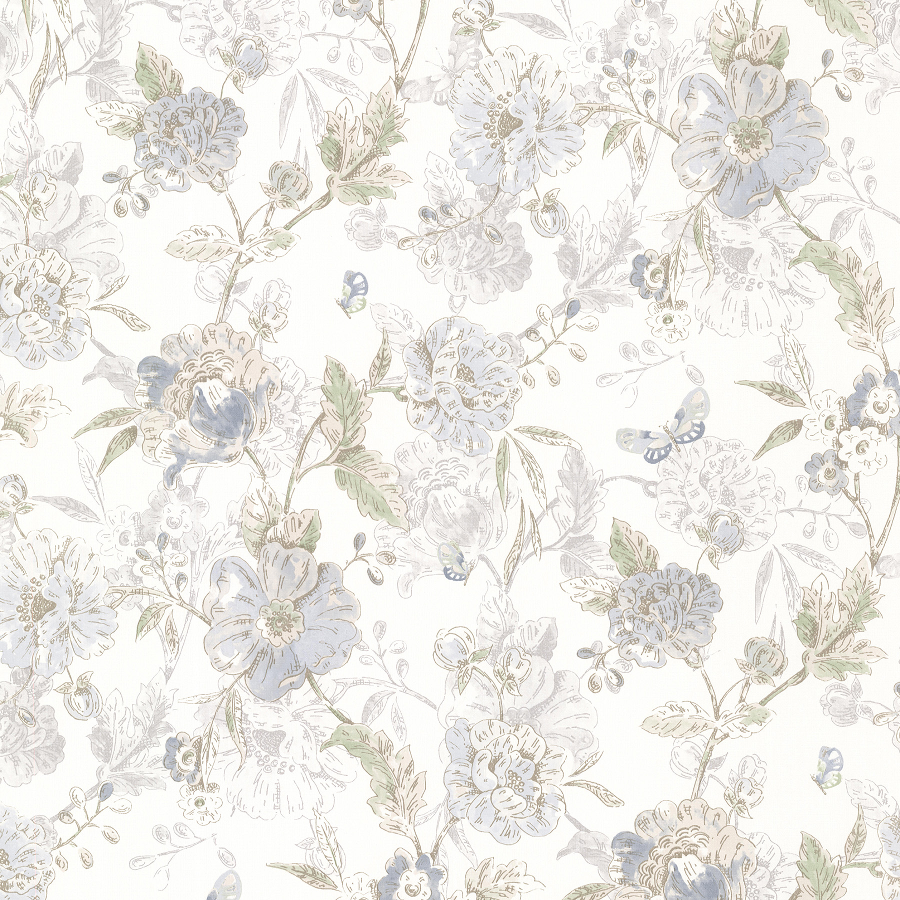 Picture of Beecroft Blue Butterfly Peony Trail Wallpaper