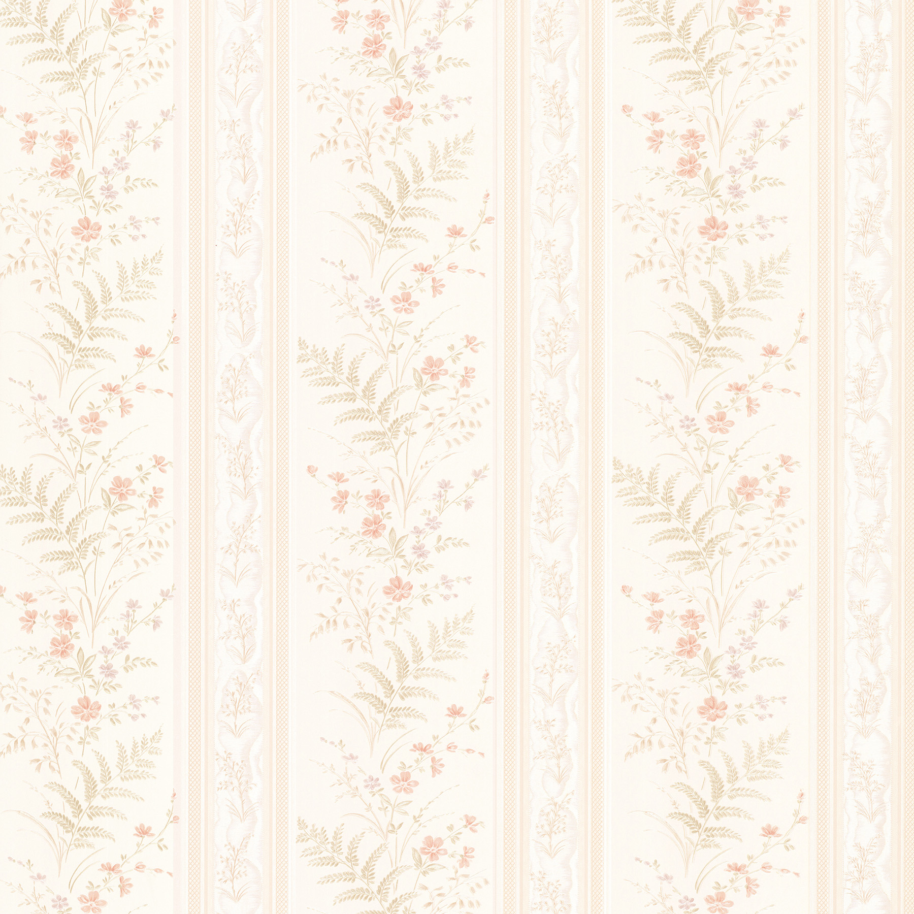 Picture of Bell Peach Wildflower Stripe Wallpaper