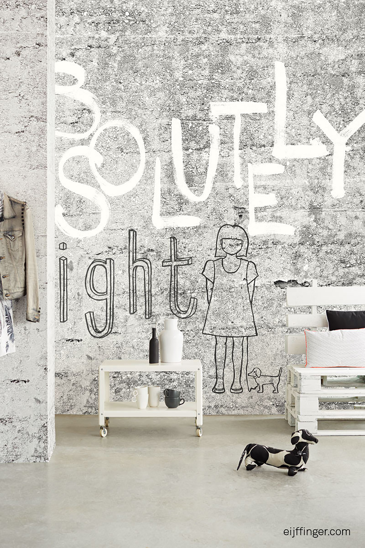 Picture of Absolute Concrete Light Grey Graphic Mural