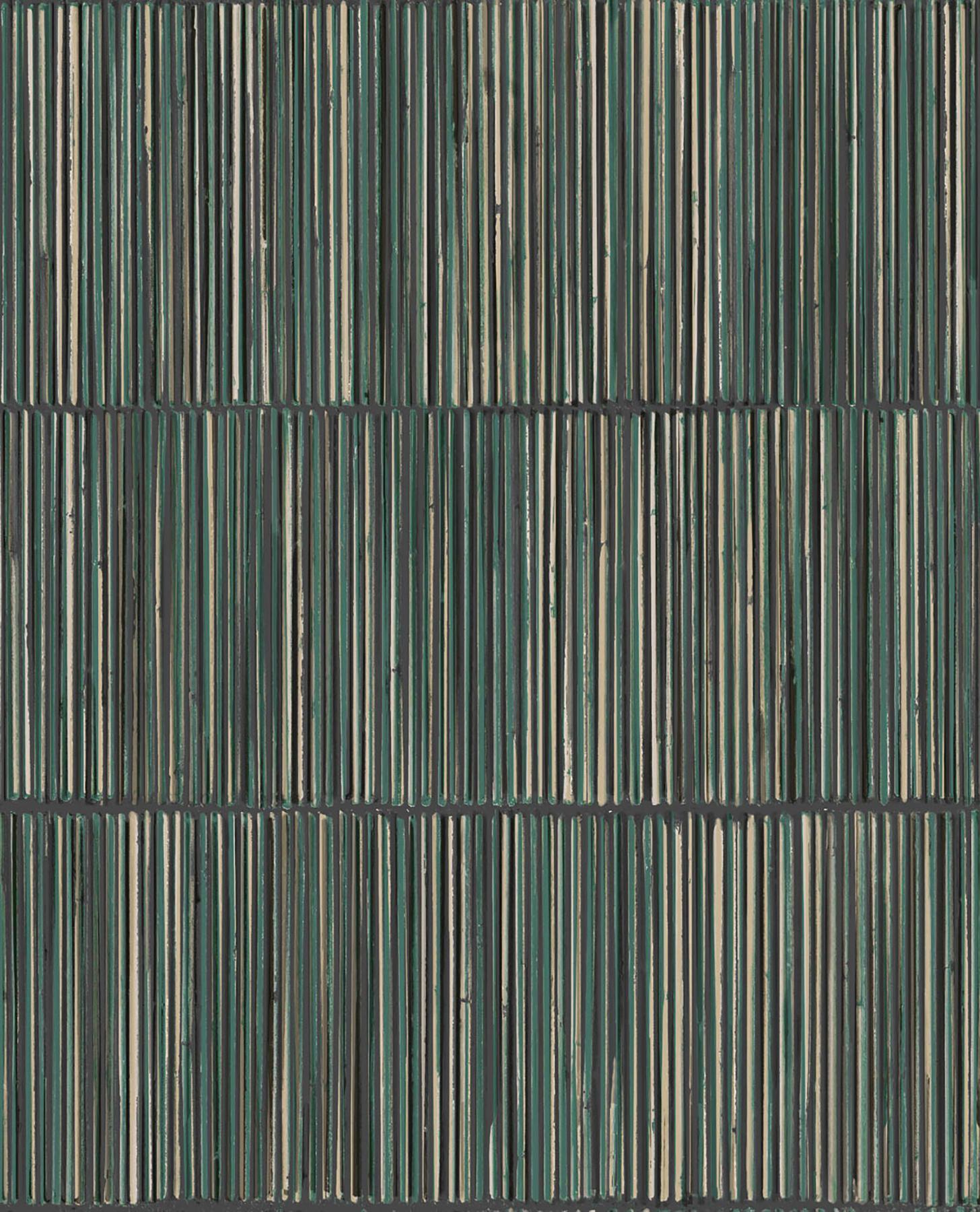 Picture of Aspen Dark Green Natural Stripe Wallpaper