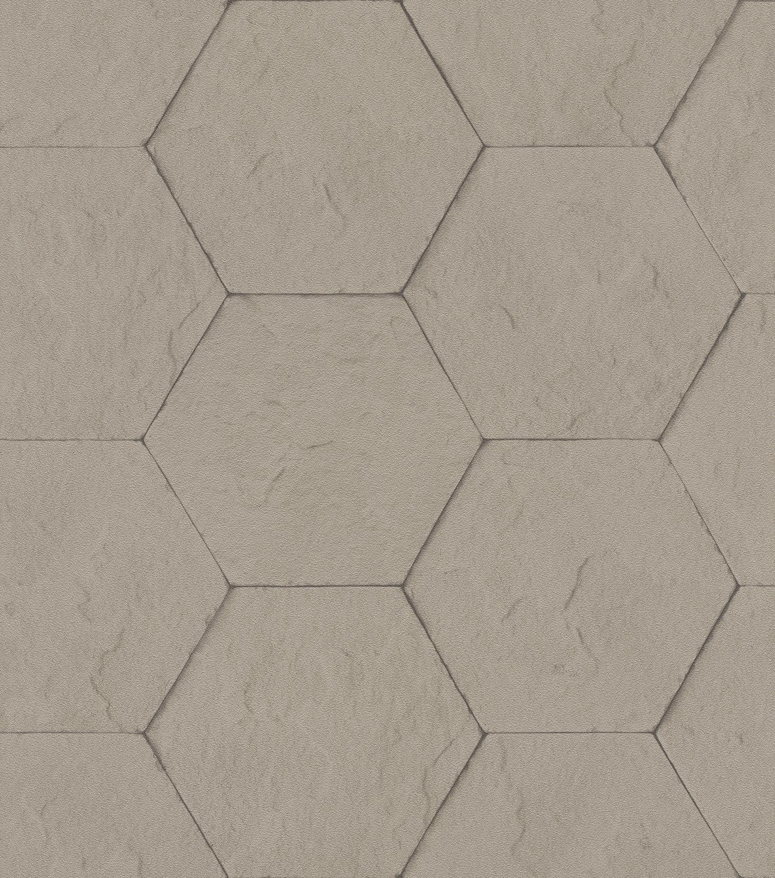 Picture of Bascom Light Grey Stone Hexagon Wallpaper