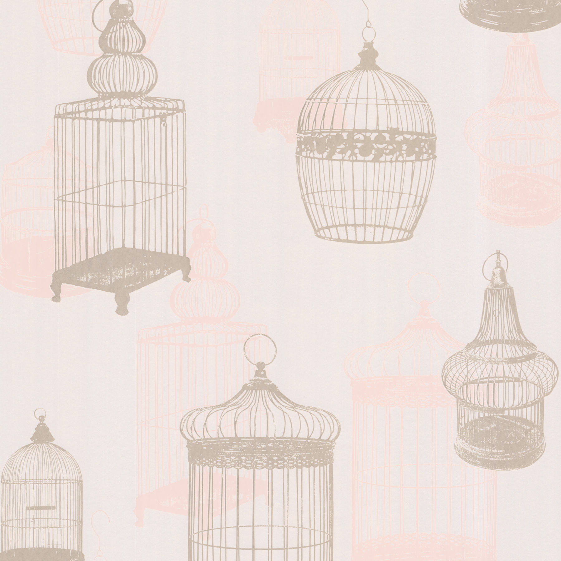 Picture of Avian Taupe Bird Cages Wallpaper