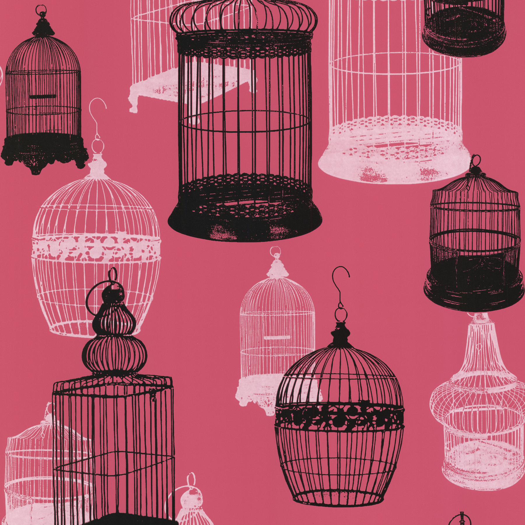 Picture of Avian Pink Bird Cages Wallpaper