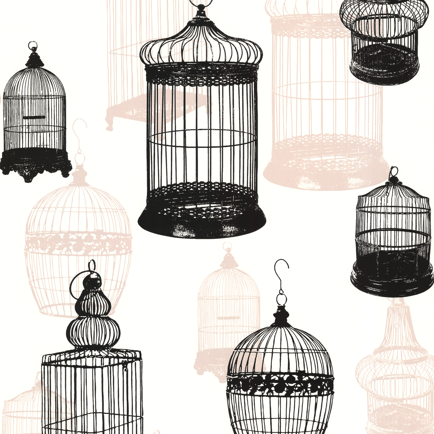 Picture of Avian Black Bird Cages Wallpaper