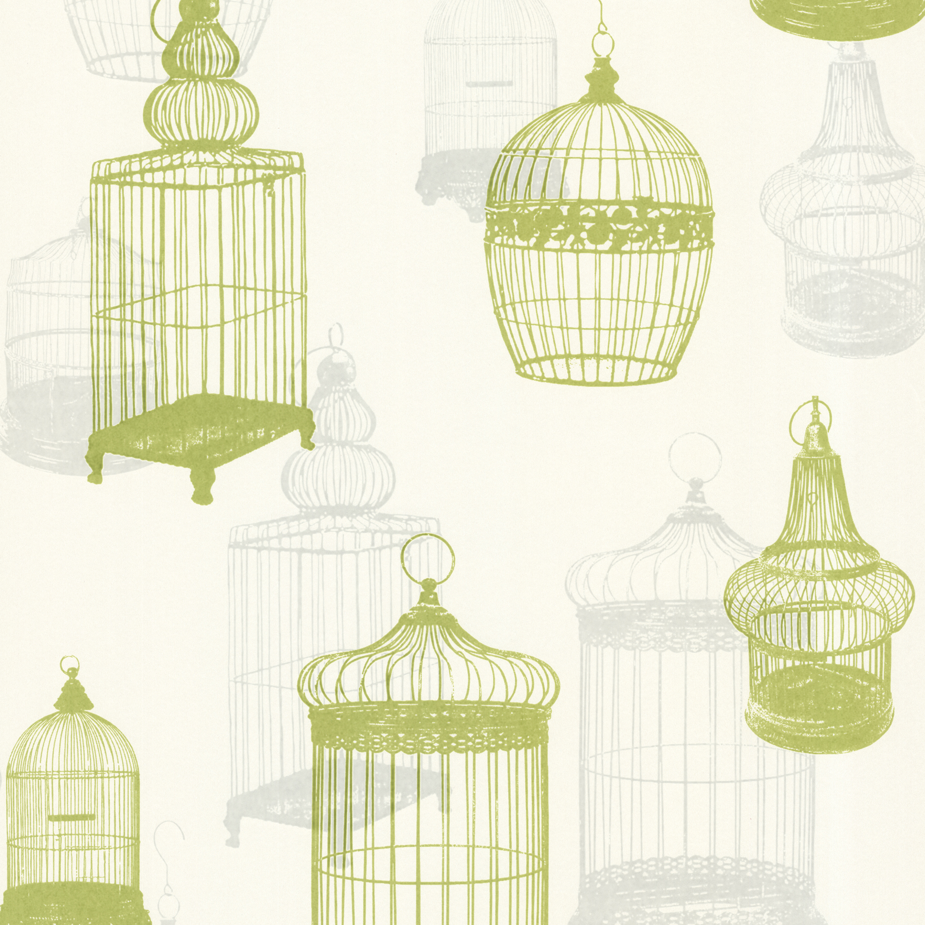 Picture of Avian Green Bird Cages Wallpaper