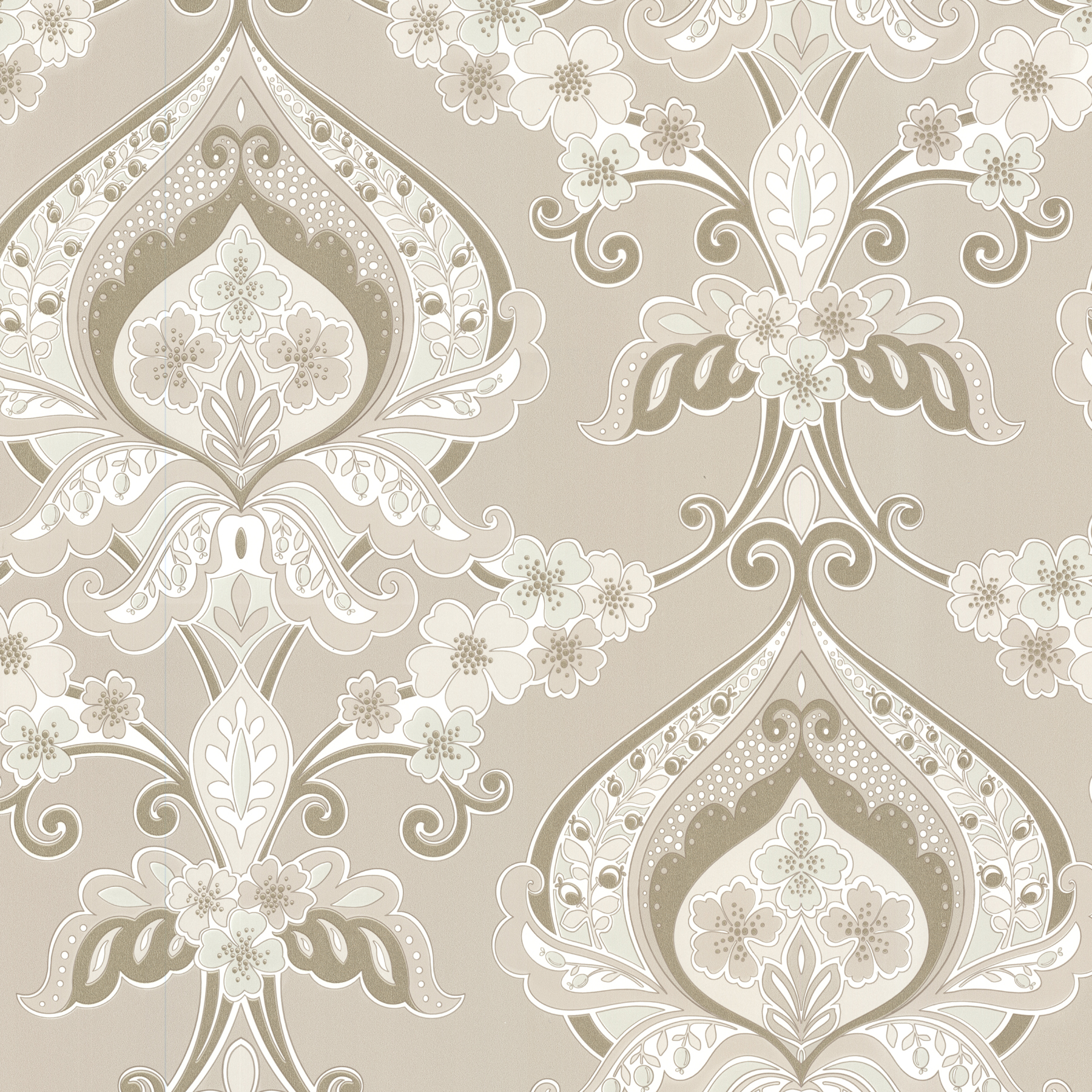 Picture of Ashbury Beige Paisley Damask Wallpaper